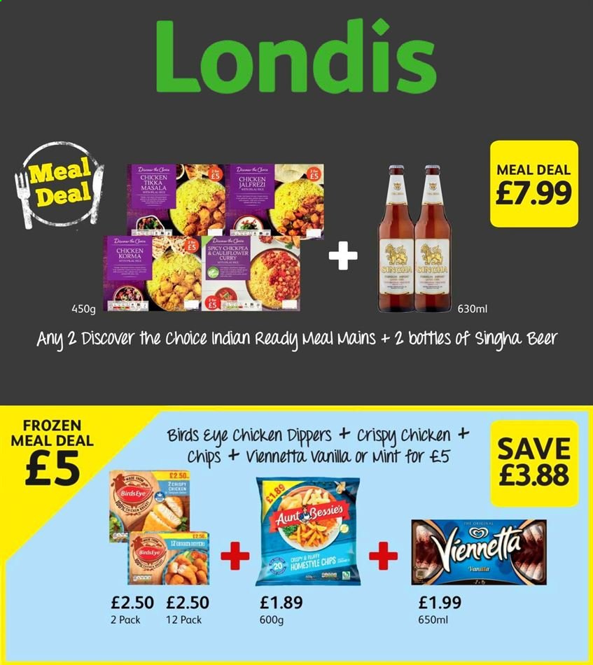 Londis offer  - Sales products - beer, mint, tikka, chicken, chips, curry. Page 1.
