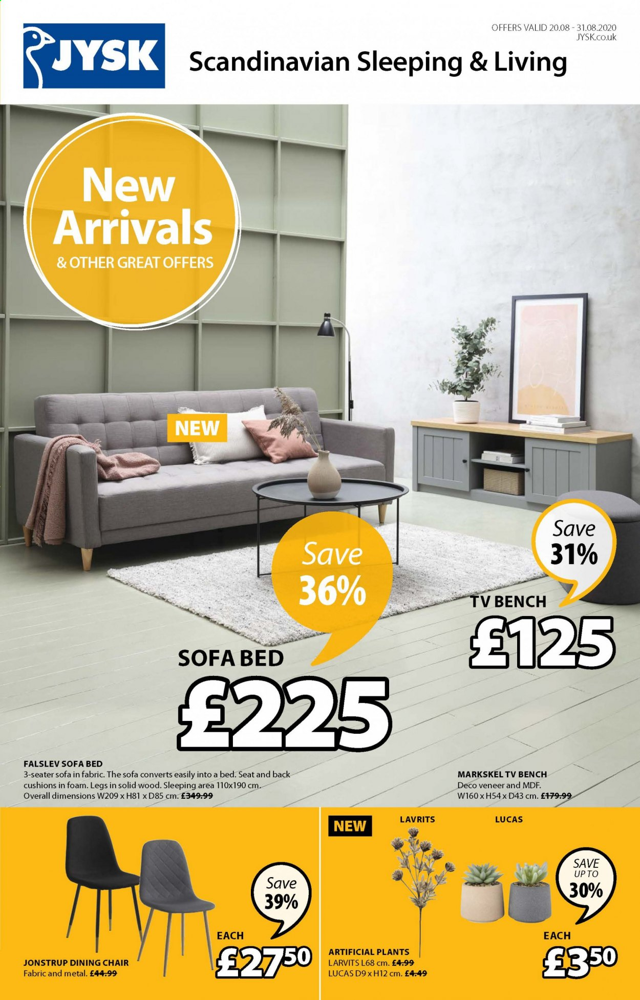 JYSK offer  - 20.8.2020 - 31.8.2020 - Sales products - bed, bench, foam, lucas, sofa, chair, sofa bed, dining chair, cushions. Page 1.