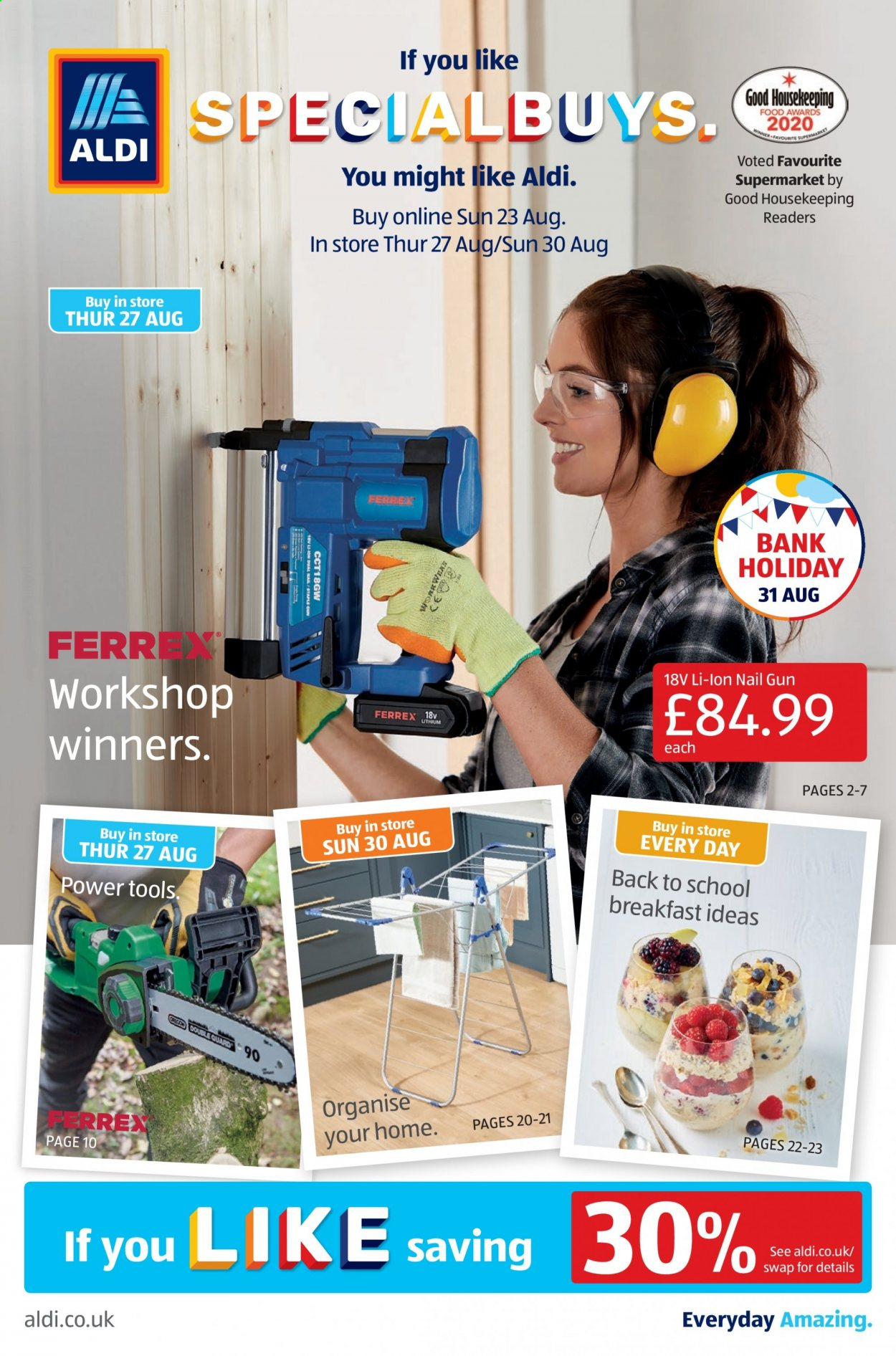 Aldi offer  - 23.8.2020 - 30.8.2020 - Sales products - gun, power tools, tools. Page 1.