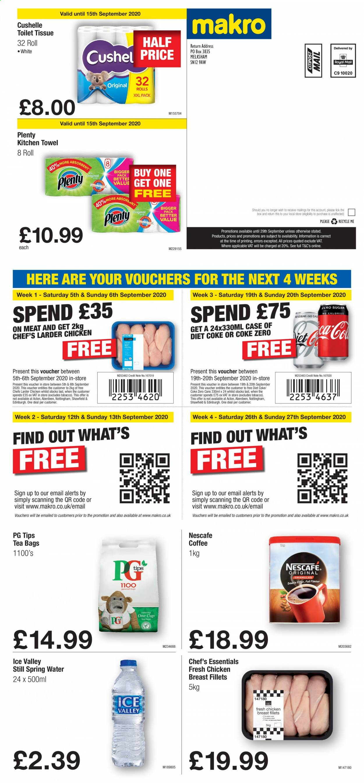 Makro offer  - 3.9.2020 - 29.9.2020 - Sales products - case, coca-cola, coffee, spring water, toilet, towel, kitchen, chicken, chicken breast, coca-cola light, nescafé, coke zero, tea bags, toilet tissue, meat, diet coke, kitchen towel, teabag, essentials, spring. Page 1.