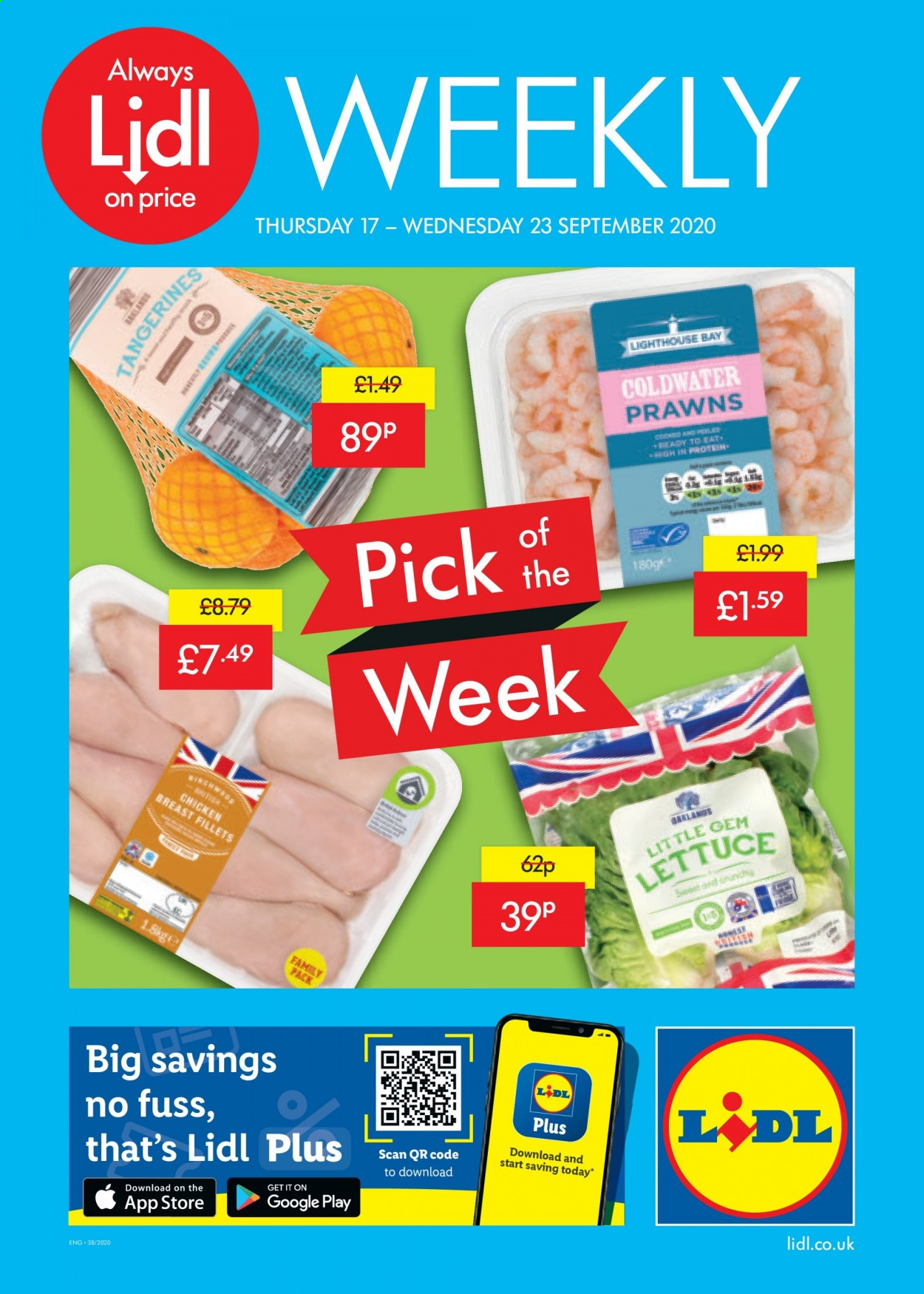 Lidl offer  - 17.9.2020 - 23.9.2020 - Sales products - always, google, tangerines, prawns, chicken, chicken breast, lettuce, sweet, family pack. Page 1.