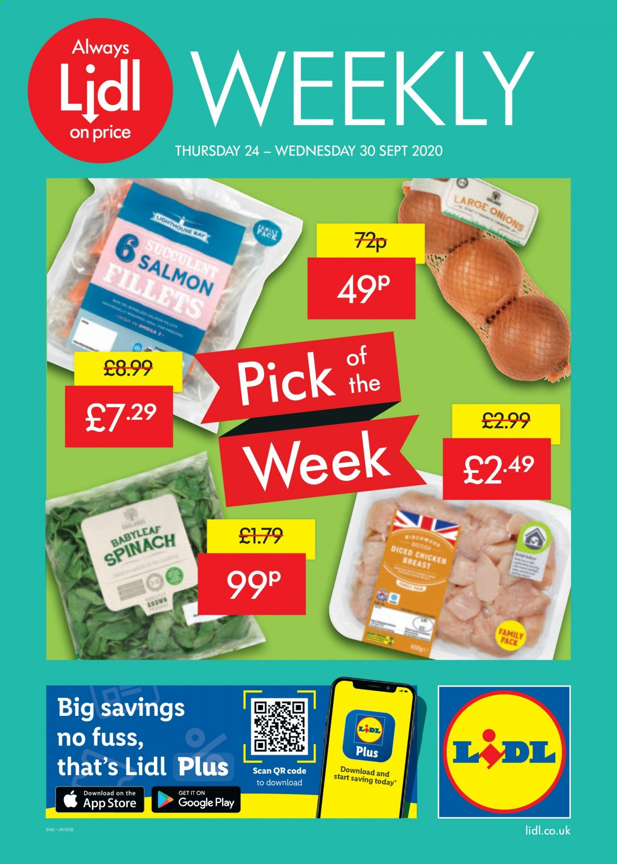 Lidl offer  - 24.9.2020 - 30.9.2020 - Sales products - always, google, salmon, spinach, chicken, chicken breast, onion, family pack, onions. Page 1.