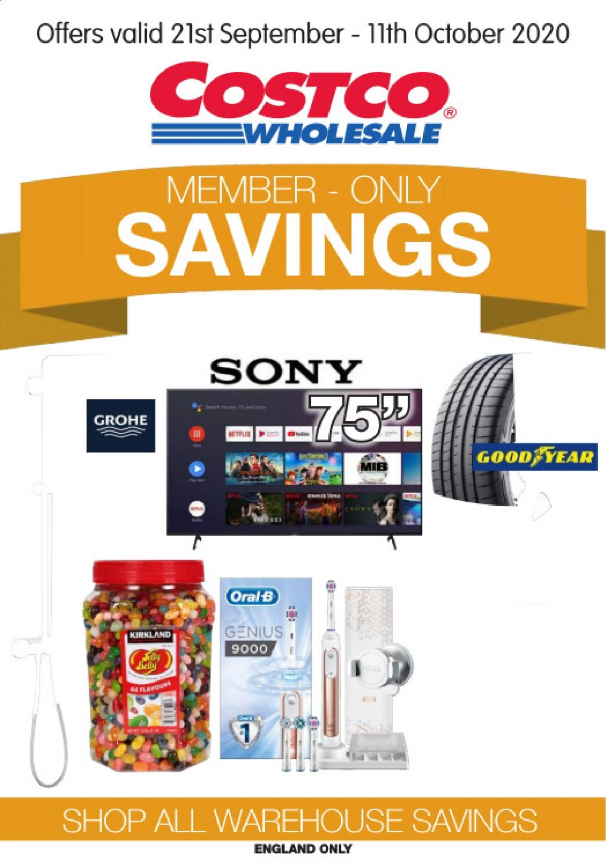 Costco offer  - 21.9.2020 - 11.10.2020 - Sales products - Sony, Oral-b, Grohe. Page 1.