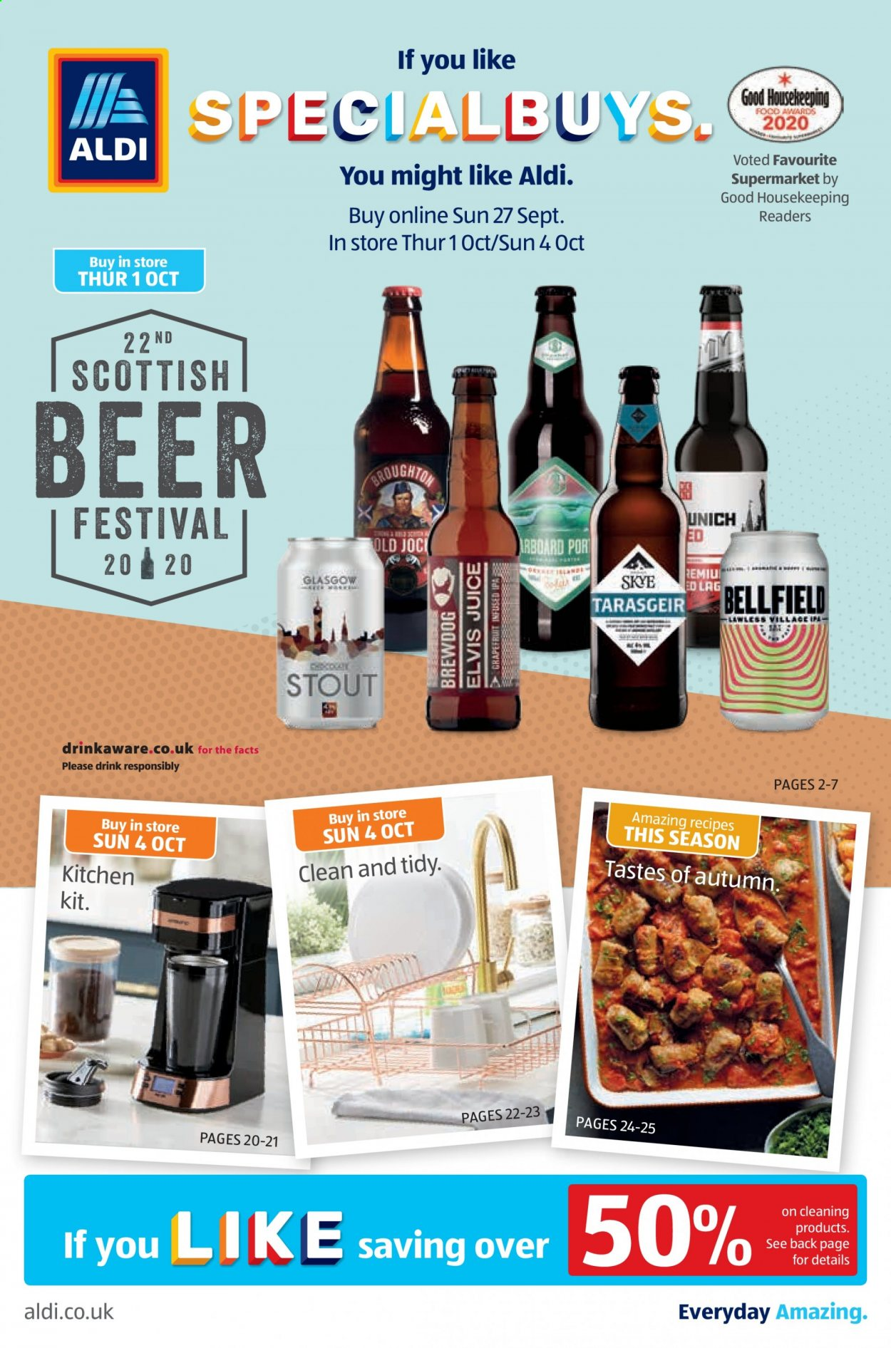 Aldi offer  - 27.9.2020 - 4.10.2020 - Sales products - beer, kitchen, juice, drink. Page 1.