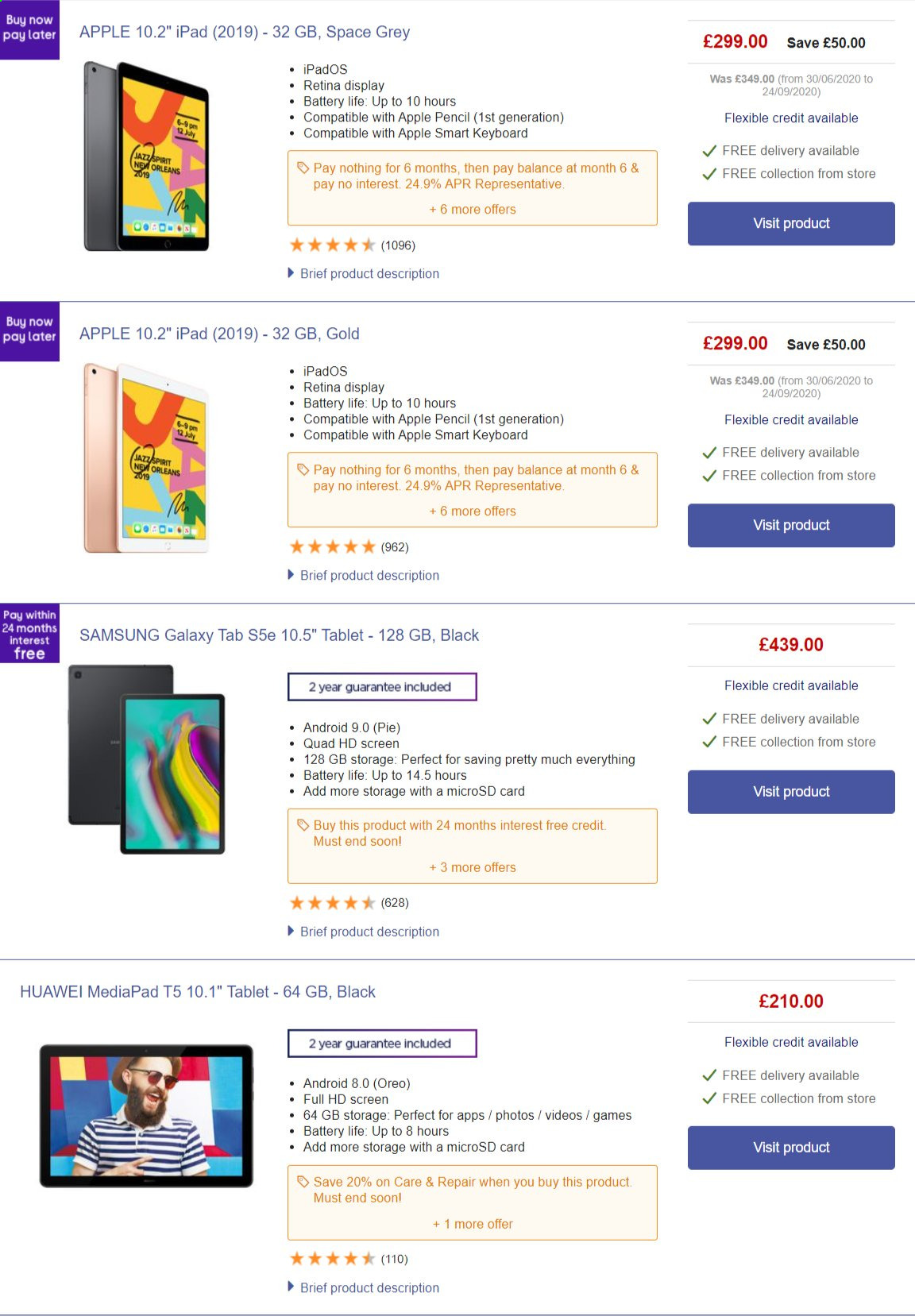 Currys PC World offer  - 26.9.2020 - 2.10.2020 - Sales products - android, apple, battery, full hd, galaxy, repair, samsung, storage, tablet, huawei, keyboard, oreo, game, pie, ipad, card, apples, samsung galaxy. Page 1.