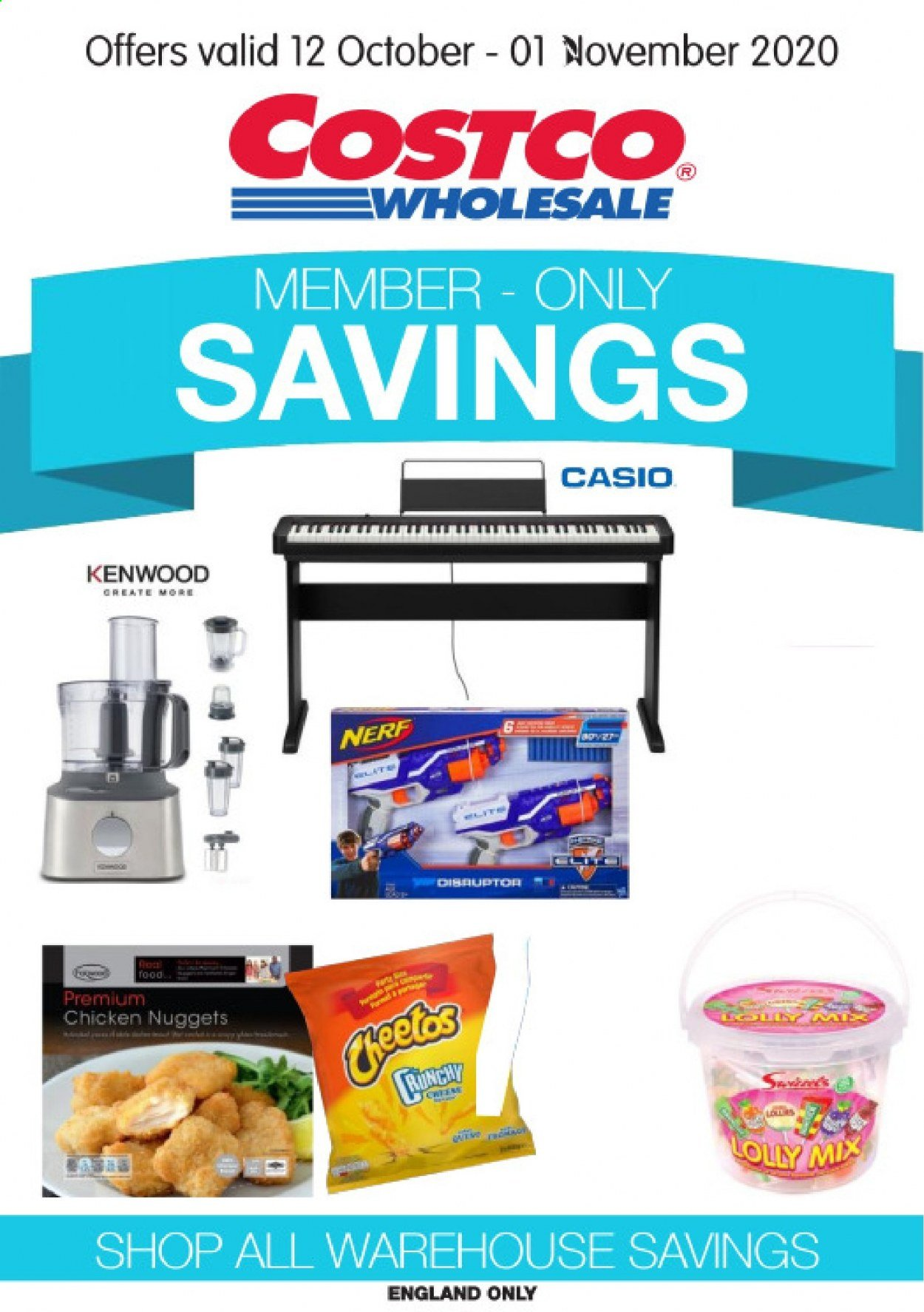 Costco offer  - 12.10.2020 - 1.11.2020 - Sales products - chicken, nuggets, lollipop, Kenwood, Nerf. Page 1.