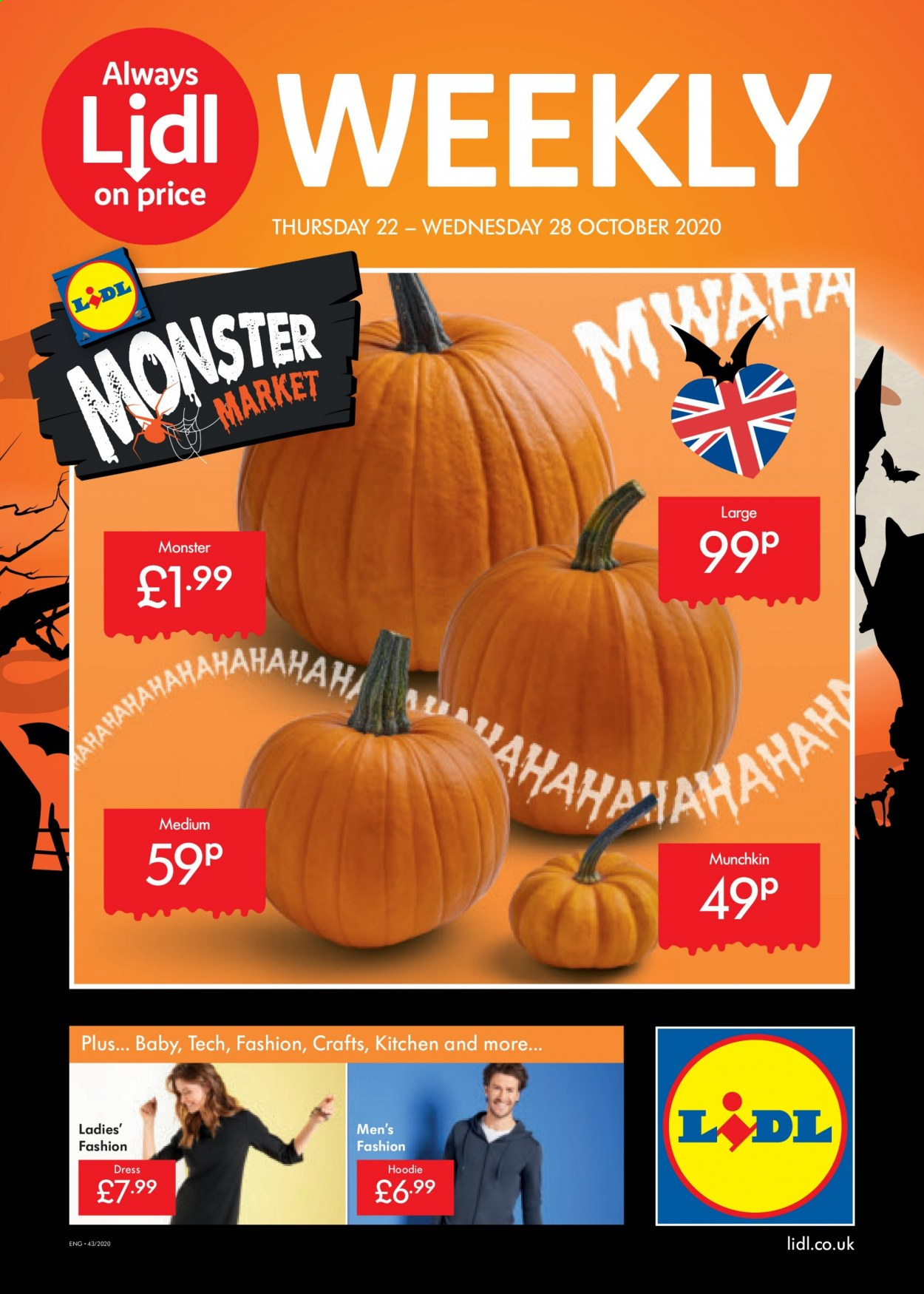 Lidl offer  - 22.10.2020 - 28.10.2020 - Sales products - always, dress, hoodie, kitchen, monster. Page 1.