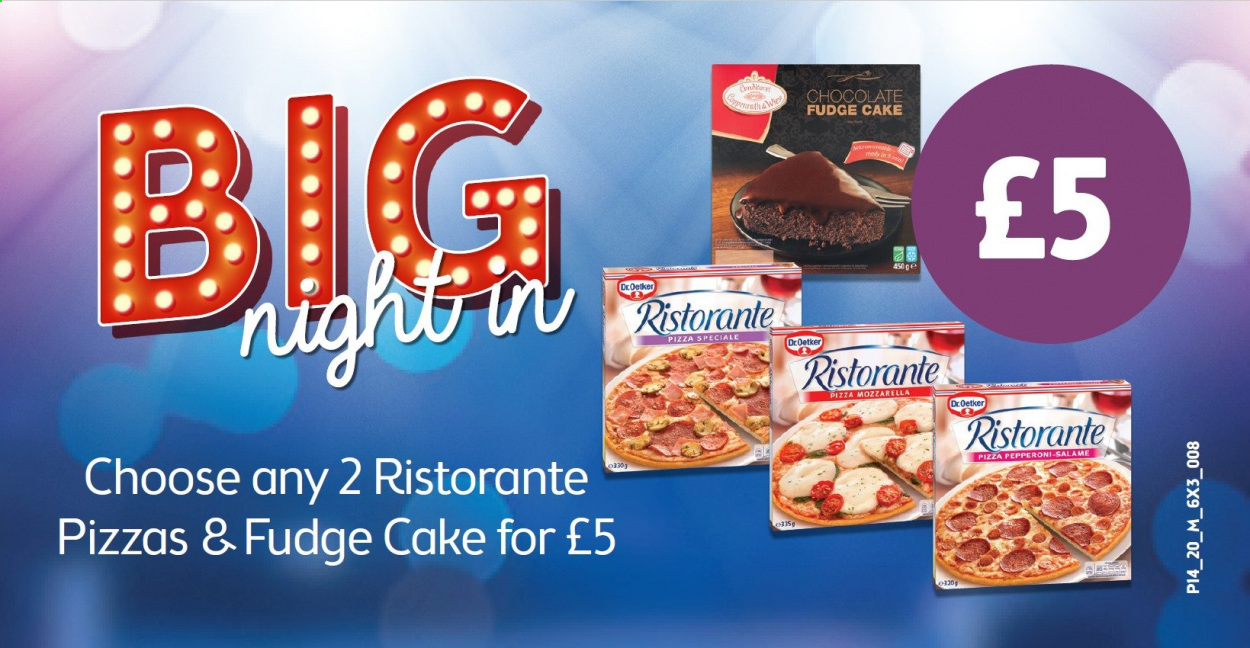 McColl's offer  - Sales products - fudge, mozzarella, pizza, pepperoni, chocolate, cake. Page 4.
