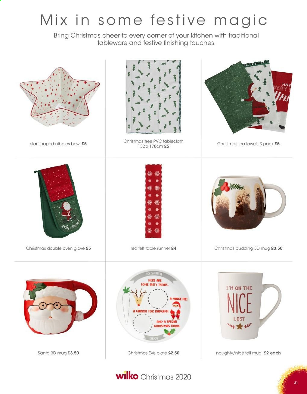 Wilko offer  - Sales products - christmas tree, mug, tableware, plate, bowl, table runner, tablecloth, tea towels, towel, Santa. Page 21.