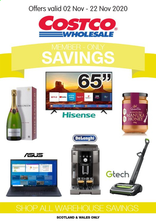 Costco offer  - 2.11.2020 - 22.11.2020 - Sales products - asus, delonghi, honey, hisense. Page 1.