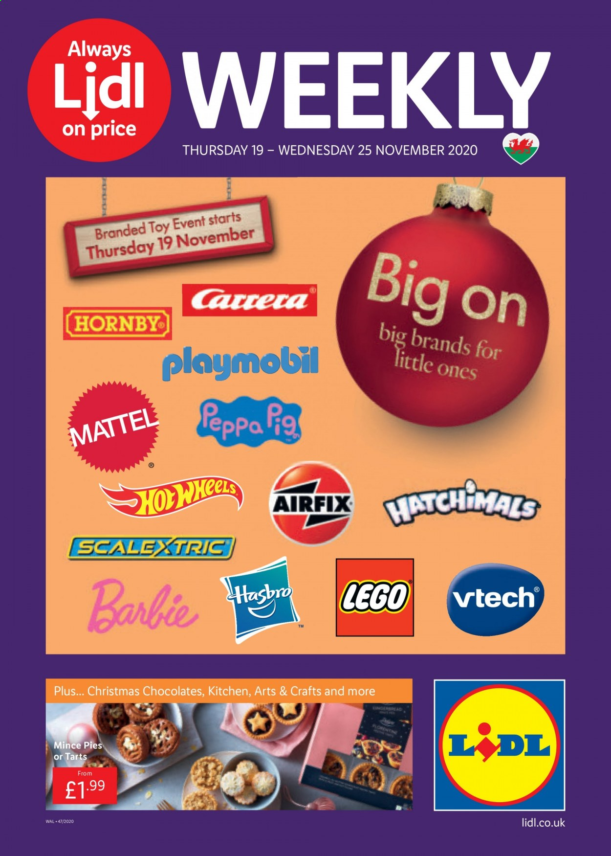 Lidl offer  - 19.11.2020 - 25.11.2020 - Sales products - always, barbie, lego, mattel, vtech, kitchen, playmobil, hasbro, carrera, toys, hatchimals, scalextric. Page 1.