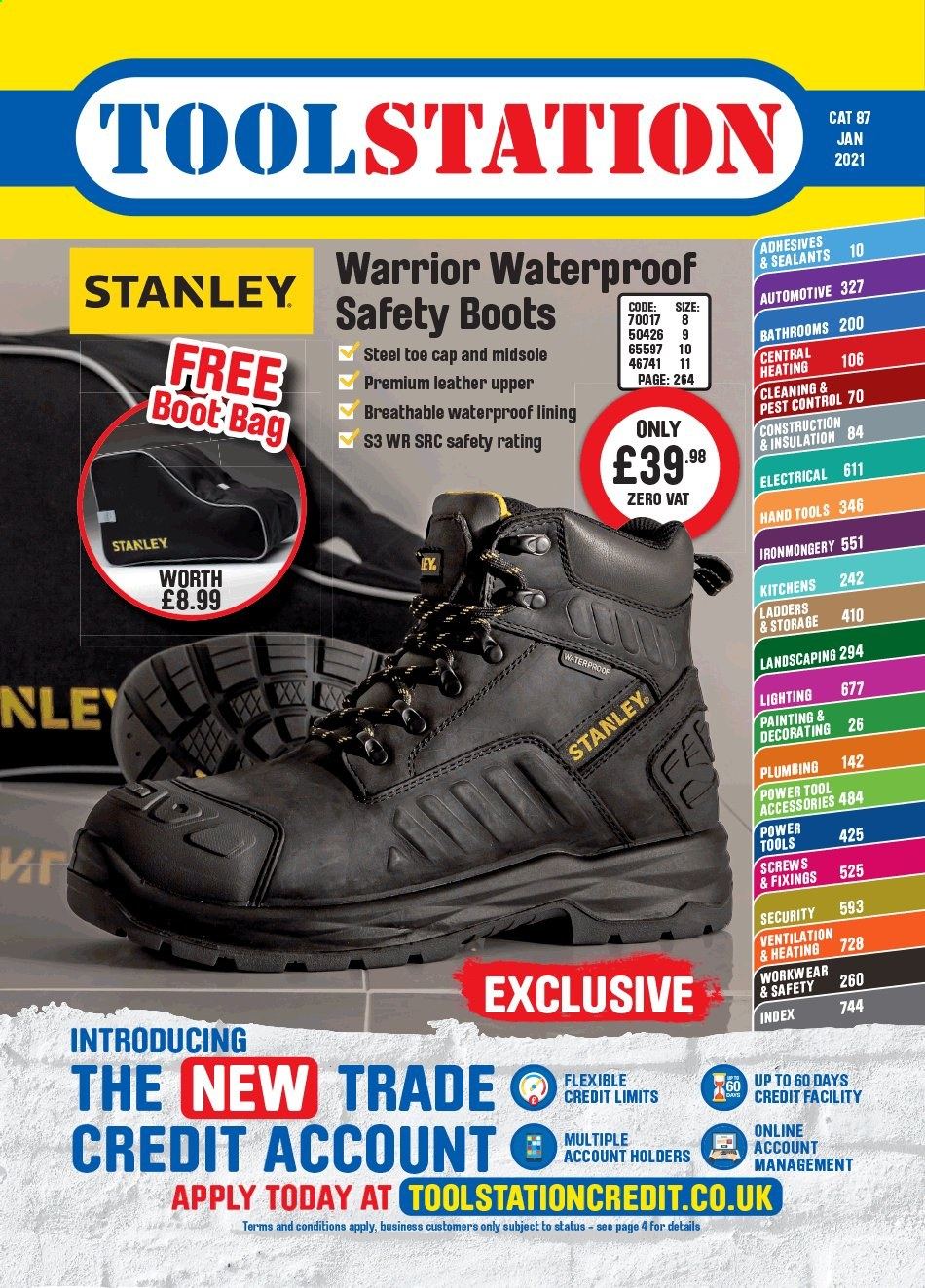 Toolstation offer  - Sales products - Stanley, power tools, hand tools, work boots, painting kit. Page 1.