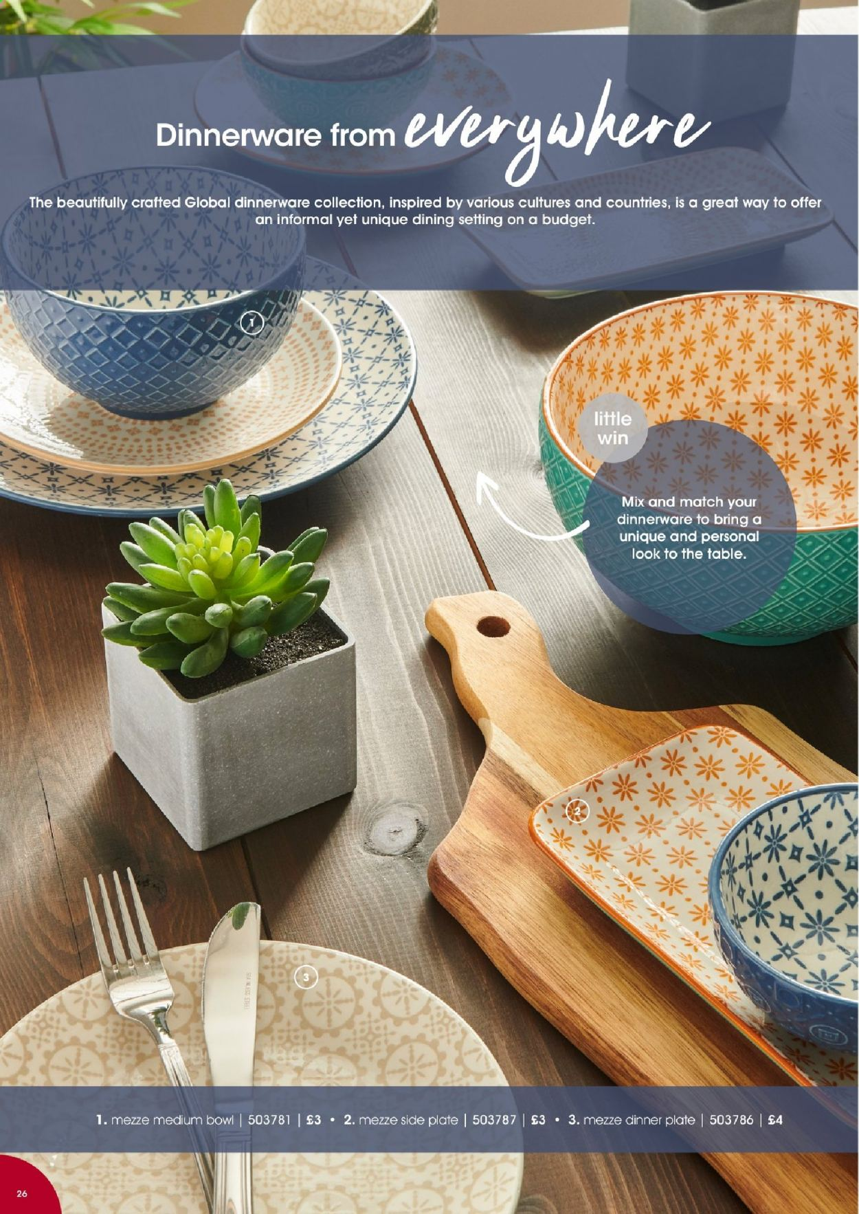 Wilko offer  - Sales products - dinnerware set, plate, dinner plate, bowl. Page 26.