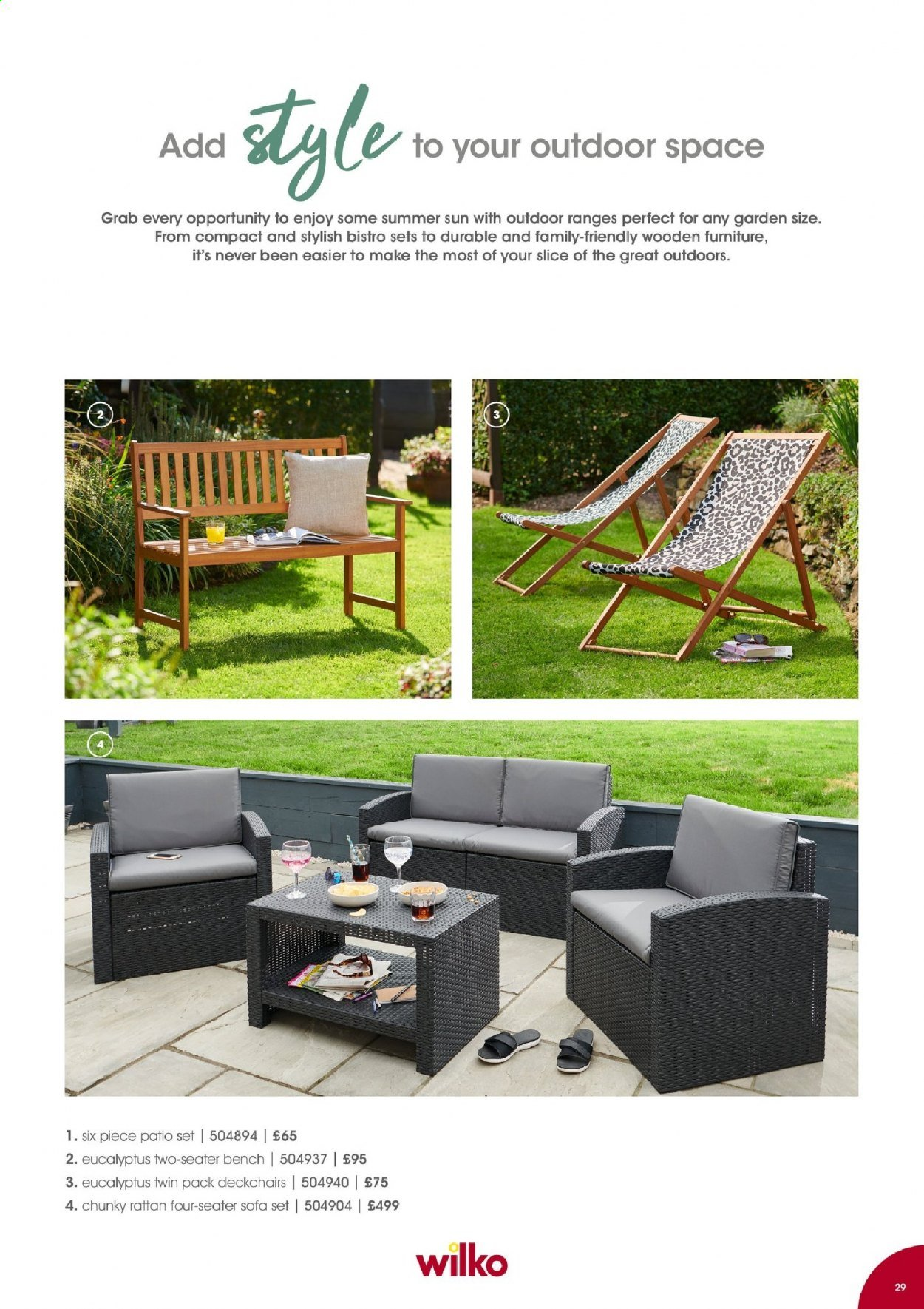 Wilko offer  - Sales products - bench, sofa. Page 29.