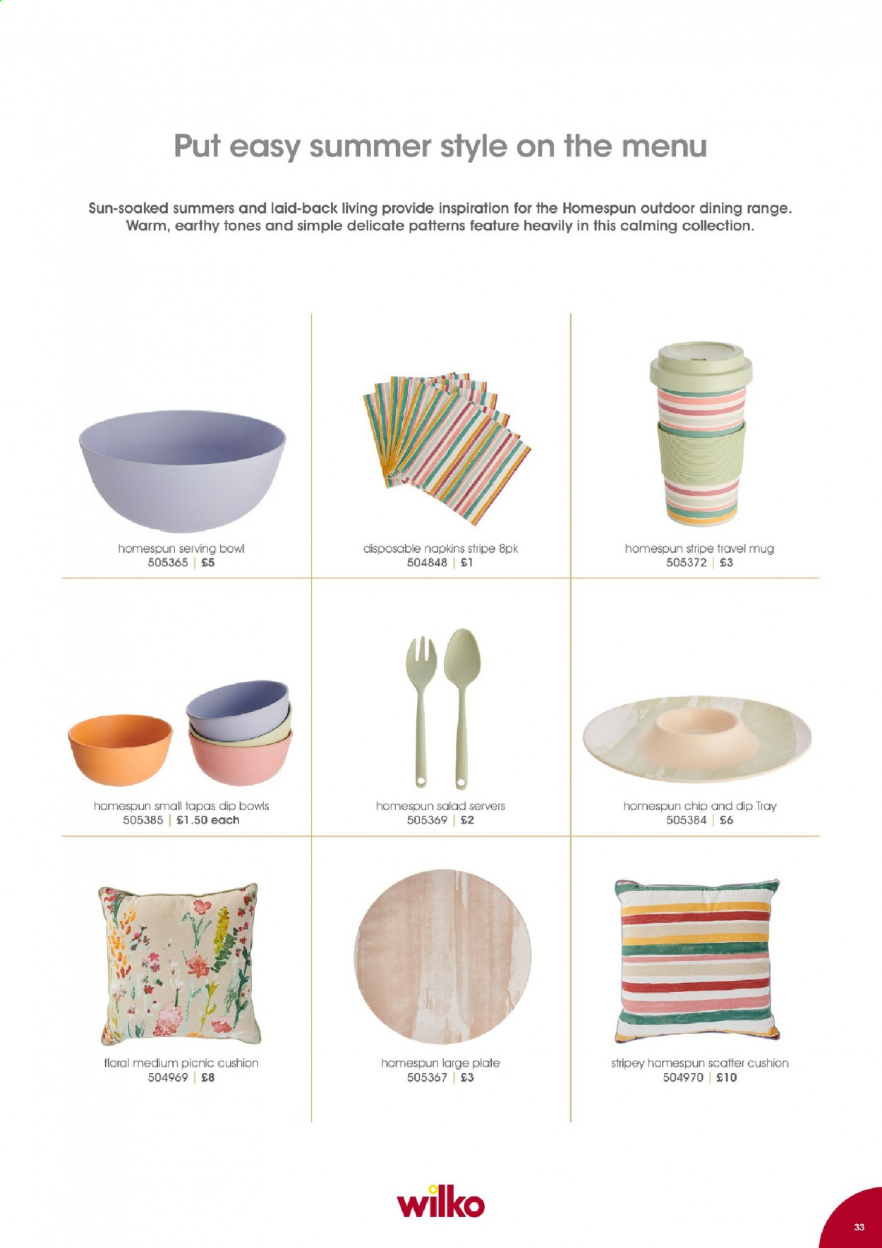 Wilko offer  - Sales products - cushion, mug, tray, plate, travel mug, serving bowl, bowl. Page 33.