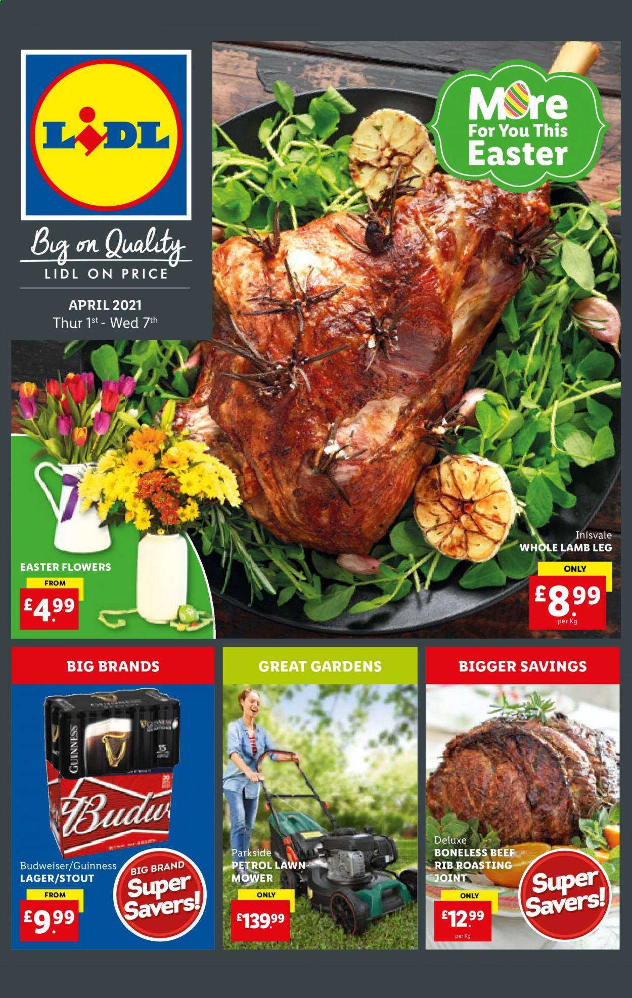 Lidl offer  - 1.4.2021 - 7.4.2021 - Sales products - Budweiser, beer, Guinness, Lager, lamb meat, lamb leg, whole lamb, Parkside, lawn mower, petrol lawn mower, flowers. Page 1.