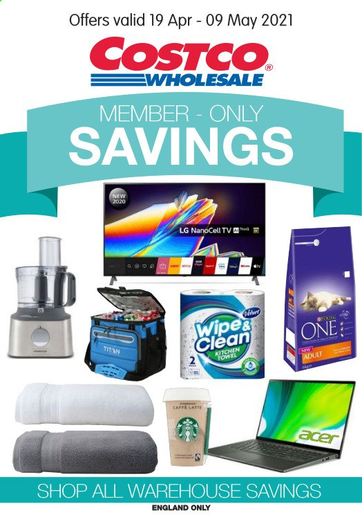 Costco offer  - 19.4.2021 - 9.5.2021 - Sales products - Acer, LG, wipes, kitchen towels. Page 1.