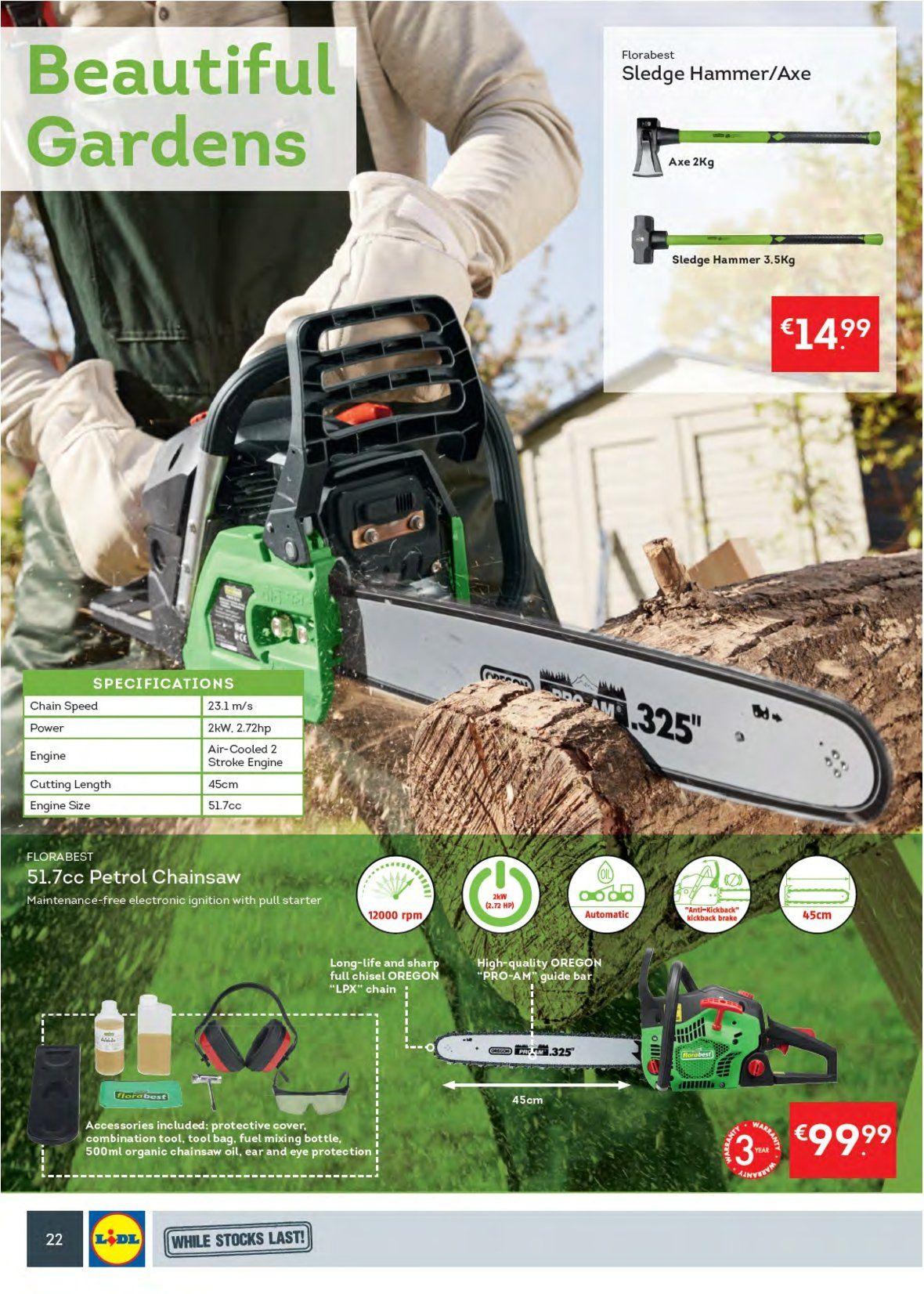 Lidl offer  - 27.8.2018 - 2.9.2018 - Sales products - Axe, Sharp, HP, chain saw, tool bag. Page 26.