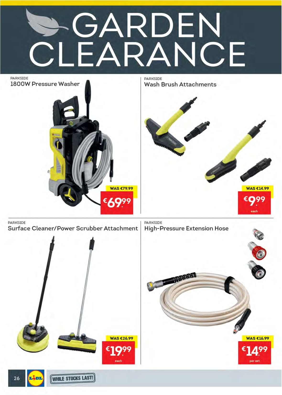 Lidl offer  - 27.8.2018 - 2.9.2018 - Sales products - surface cleaner, cleaner, brush, Parkside, pressure washer, washing machine. Page 30.