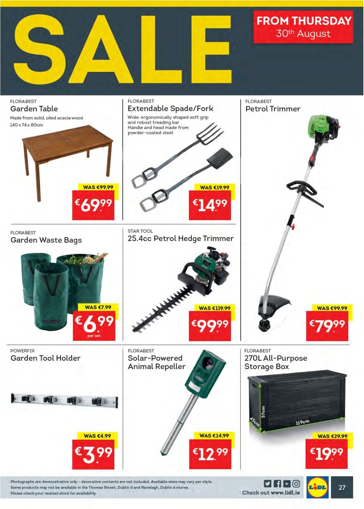 Lidl offer  - 27.8.2018 - 2.9.2018 - Sales products - trash bags, trimmer, fork, storage box, bag, spade, gardening tools. Page 31.