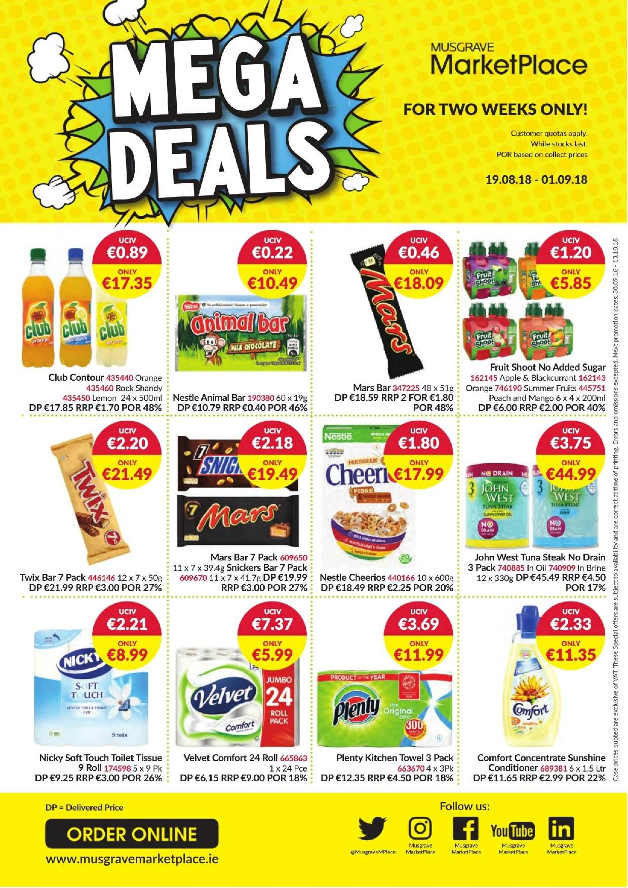 MUSGRAVE Market Place offer  - 19.8.2018 - 1.9.2018 - Sales products - apple, conditioner, mango, nestlé, sugar, toilet, towel, tuna, tuna steak, kitchen, cheerios, chocolate, steak, contour, bar, snickers, twix, mars. Page 1.