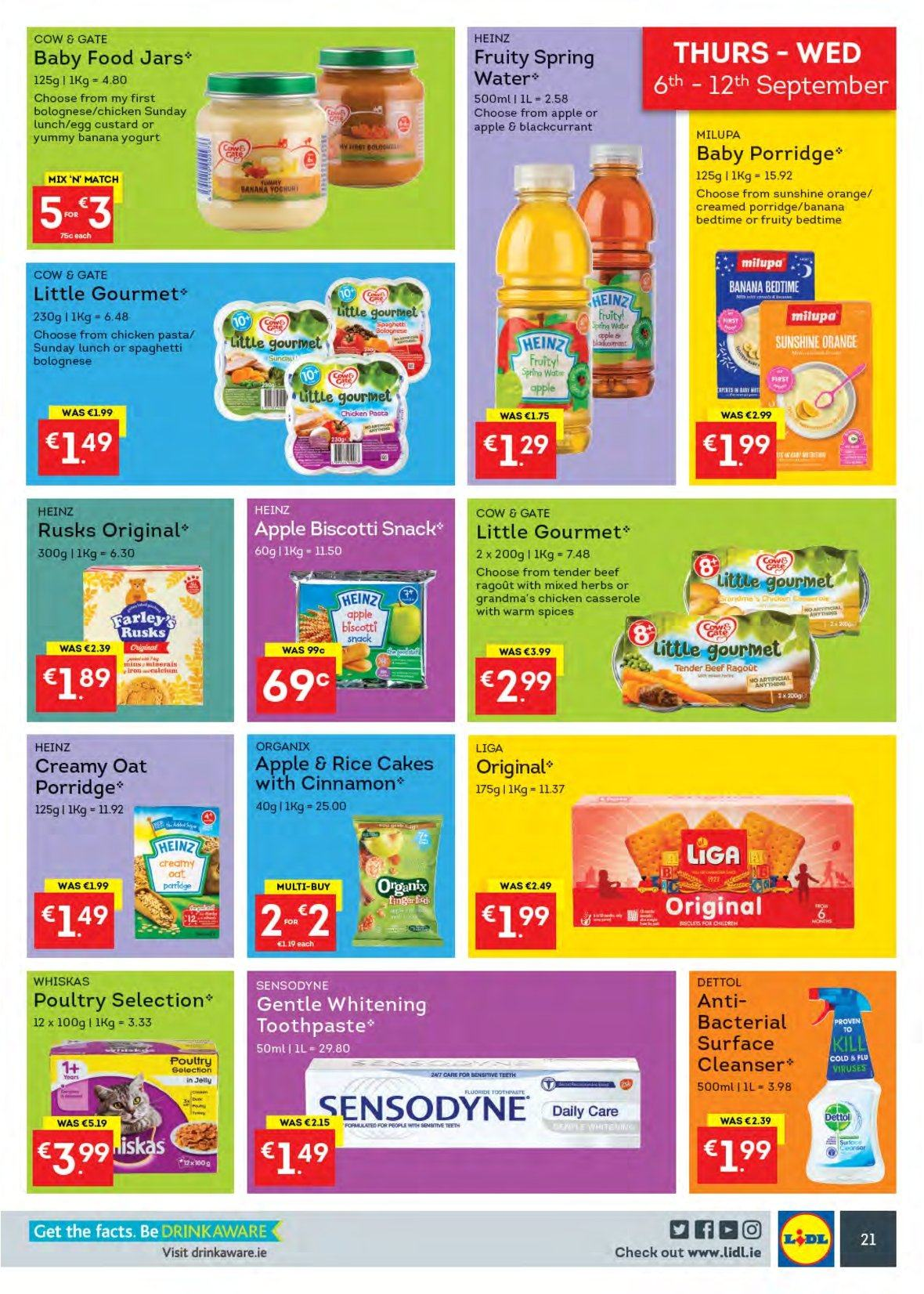Lidl offer  - 3.9.2018 - 9.9.2018 - Sales products - cake, rusks, orange, custard, yoghurt, eggs, Sunshine, biscotti, snack, oats, Heinz, porridge, rice, pasta, herbs, cinnamon, spring water, Dettol, toothpaste, Sensodyne, cleanser, casserole, jar, Whiskas, cart, Cold & Flu. Page 25.