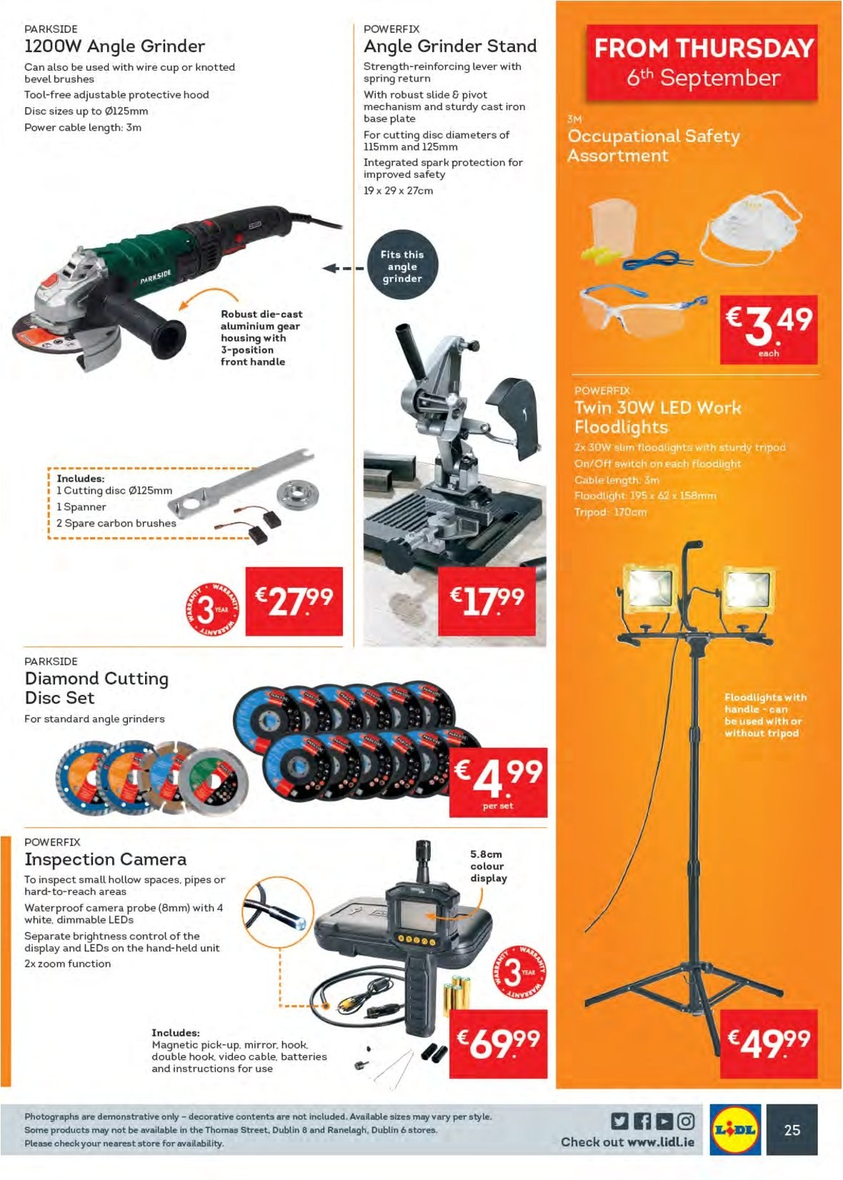 Lidl offer  - 3.9.2018 - 9.9.2018 - Sales products - hook, plate, grinder, cup, battery, camera, floodlight, switch, angle grinder, Parkside, spanner, double hook. Page 29.