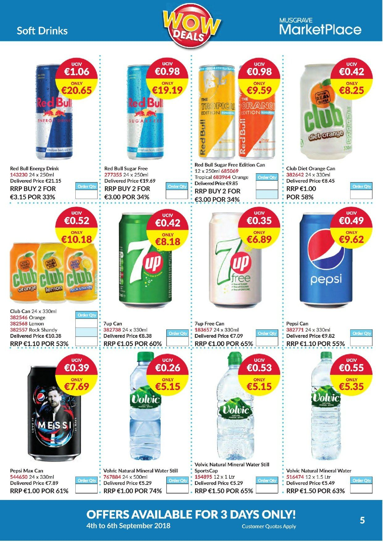 MUSGRAVE Market Place offer  - 4.9.2018 - 6.9.2018 - Sales products - orange, Pepsi, energy drink, Pepsi Max, mineral water, water. Page 5.