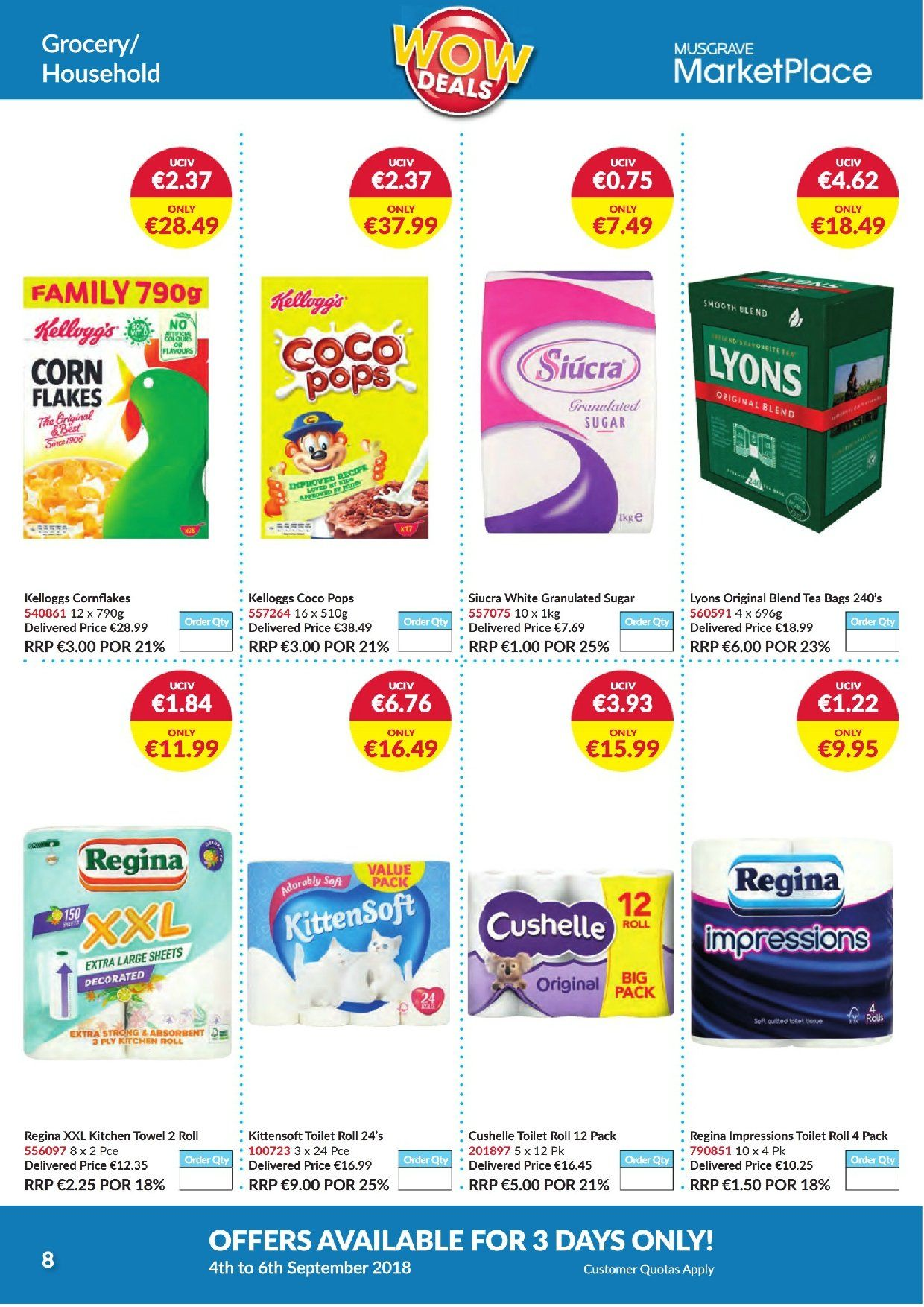 MUSGRAVE Market Place offer  - 4.9.2018 - 6.9.2018 - Sales products - granulated sugar, sugar, corn flakes, coco pops, tea bags, Lyons, kitchen roll. Page 8.