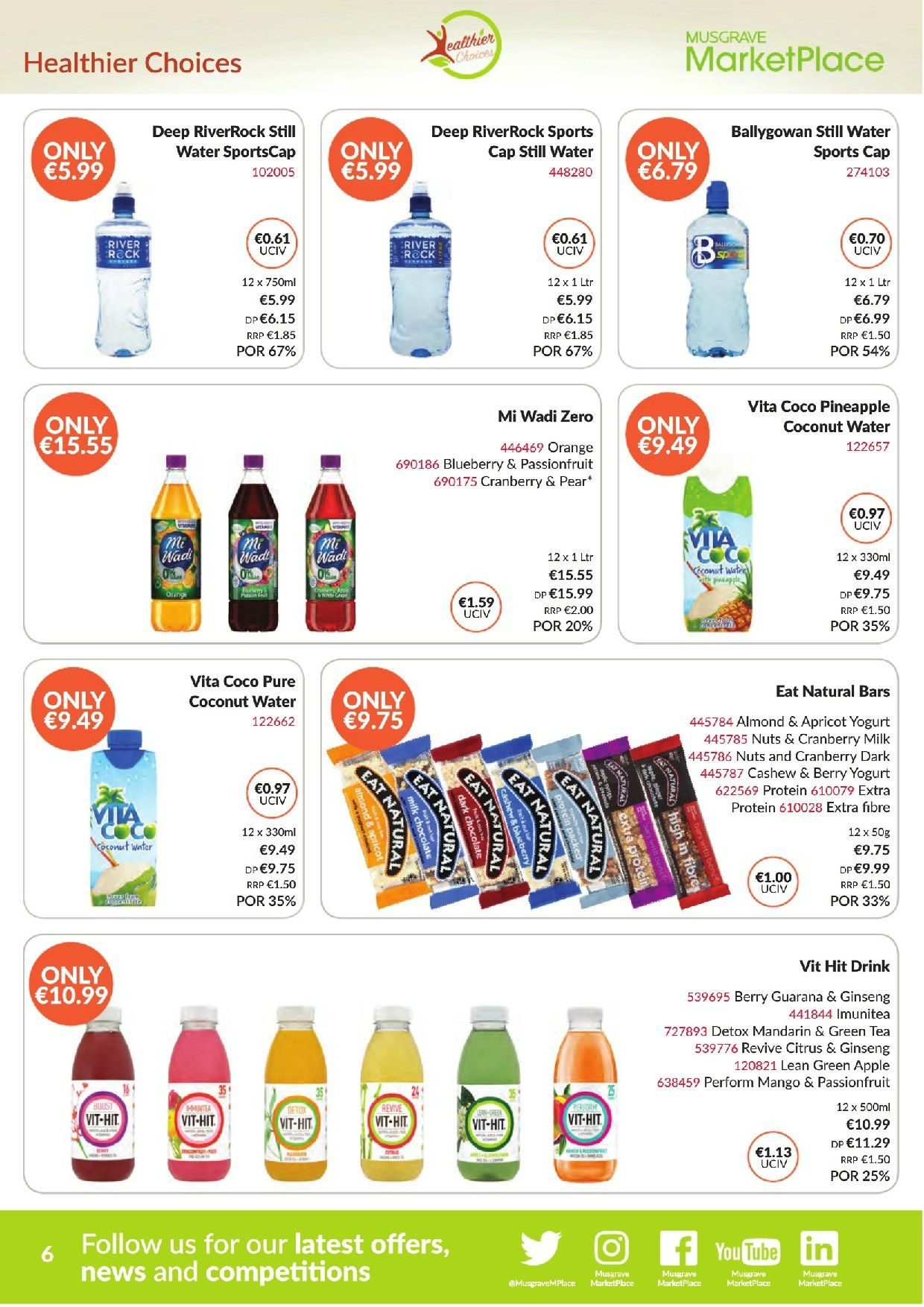 MUSGRAVE Market Place offer  - 2.9.2018 - 29.9.2018 - Sales products - mango, pineapple, pears, coconut, orange, milk, cranberries, nuts, coconut water, water, green tea, tea. Page 6.
