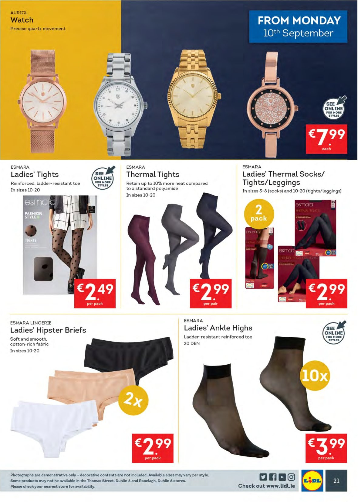 Lidl offer  - 10.9.2018 - 16.9.2018 - Sales products - Esmara, leggings, socks, thermal socks, tights. Page 25.