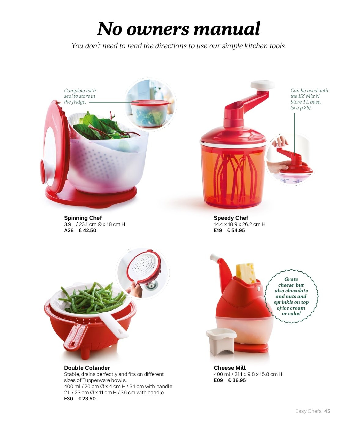 Tupperware offer  - 3.9.2018 - 28.2.2019 - Sales products - colander, kitchen tools. Page 45.