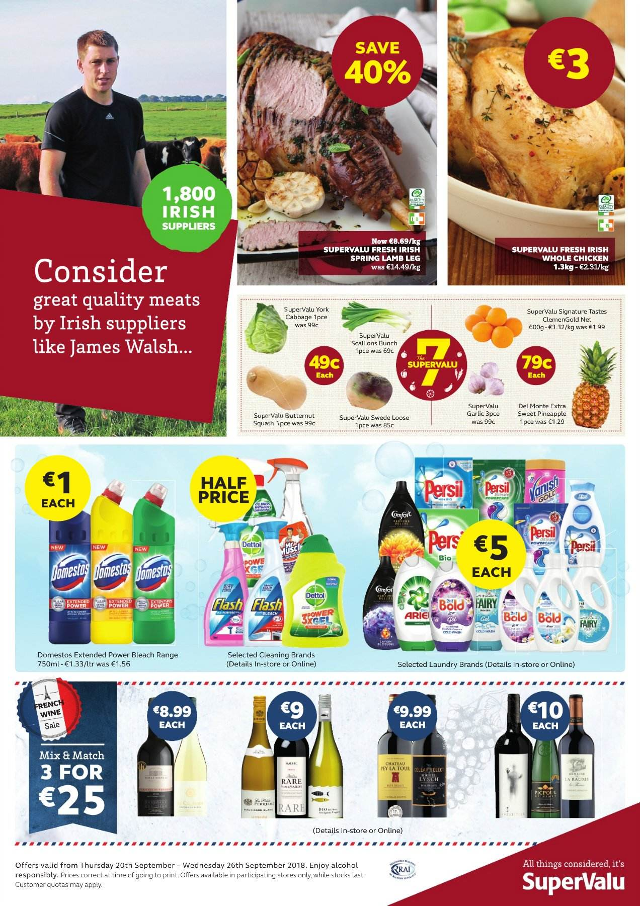 SuperValu offer  - 20.9.2018 - 26.9.2018 - Sales products - butternut squash, cabbage, del monte, garlic, lamb meat, rare, scallions, whole chicken, pineapple, chicken, domestos, dettol, sweet. Page 1.