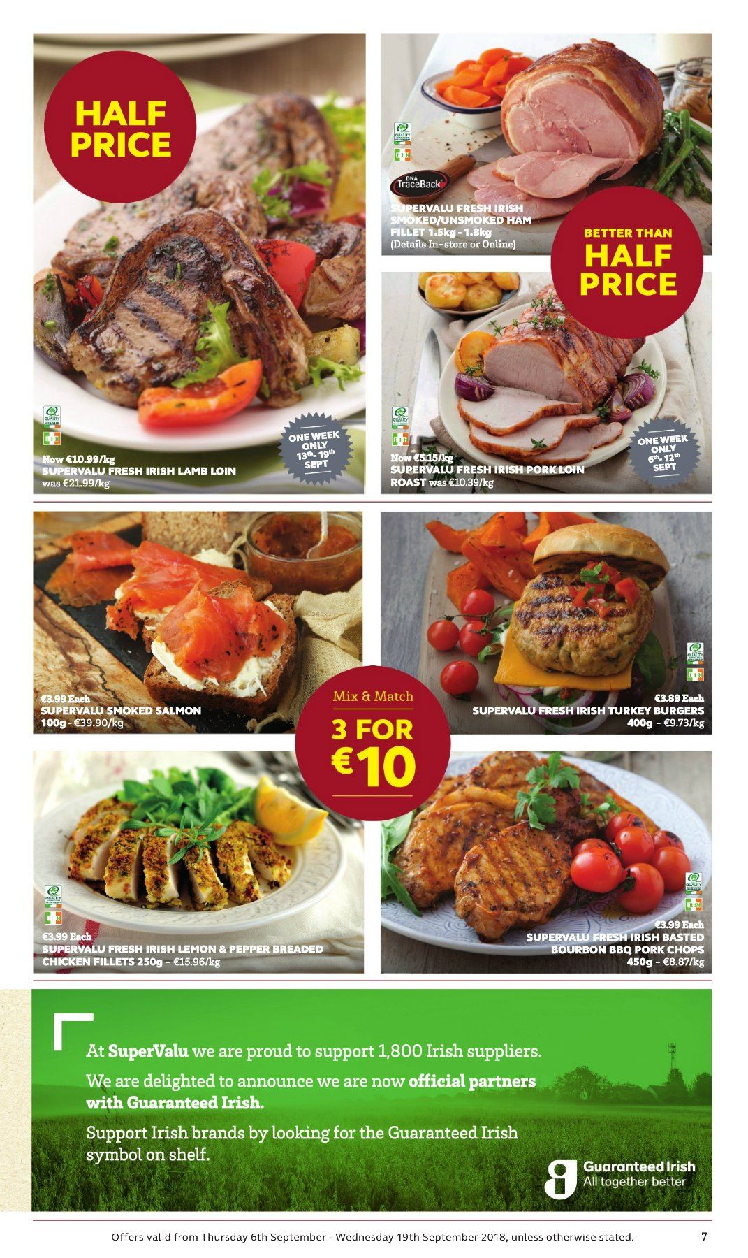 SuperValu offer  - 6.9.2018 - 19.9.2018 - Sales products - salmon, smoked salmon, hamburger, fried chicken, ham, bourbon, turkey, chicken, pork chops, lamb loin, lamb meat. Page 7.