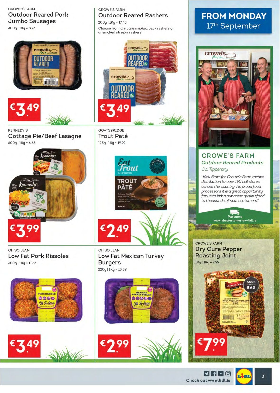 Lidl offer  - 17.9.2018 - 23.9.2018 - Sales products - pie, trout, hamburger, rashers, sausage, pepper, turkey, bag. Page 7.