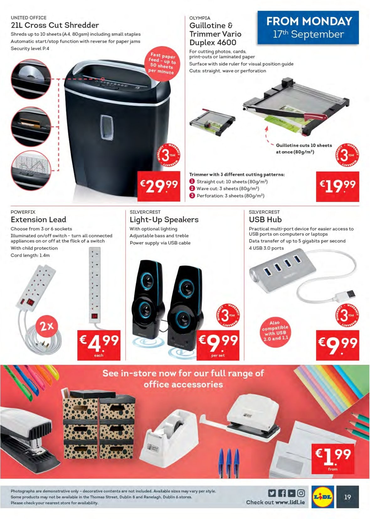 Lidl offer  - 17.9.2018 - 23.9.2018 - Sales products - SilverCrest, trimmer, paper, ruler, sheet, USB hub, speaker, switch, power supply, extension lead. Page 23.