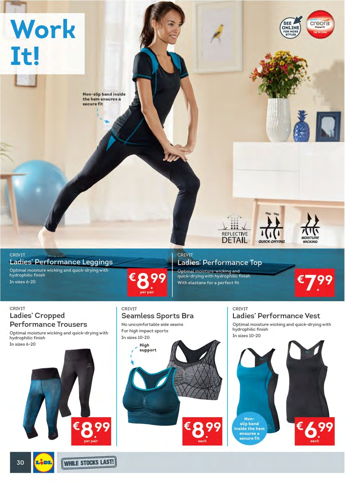 Lidl offer  - 17.9.2018 - 23.9.2018 - Sales products - Crivit, trousers, vest, leggings, bra. Page 34.