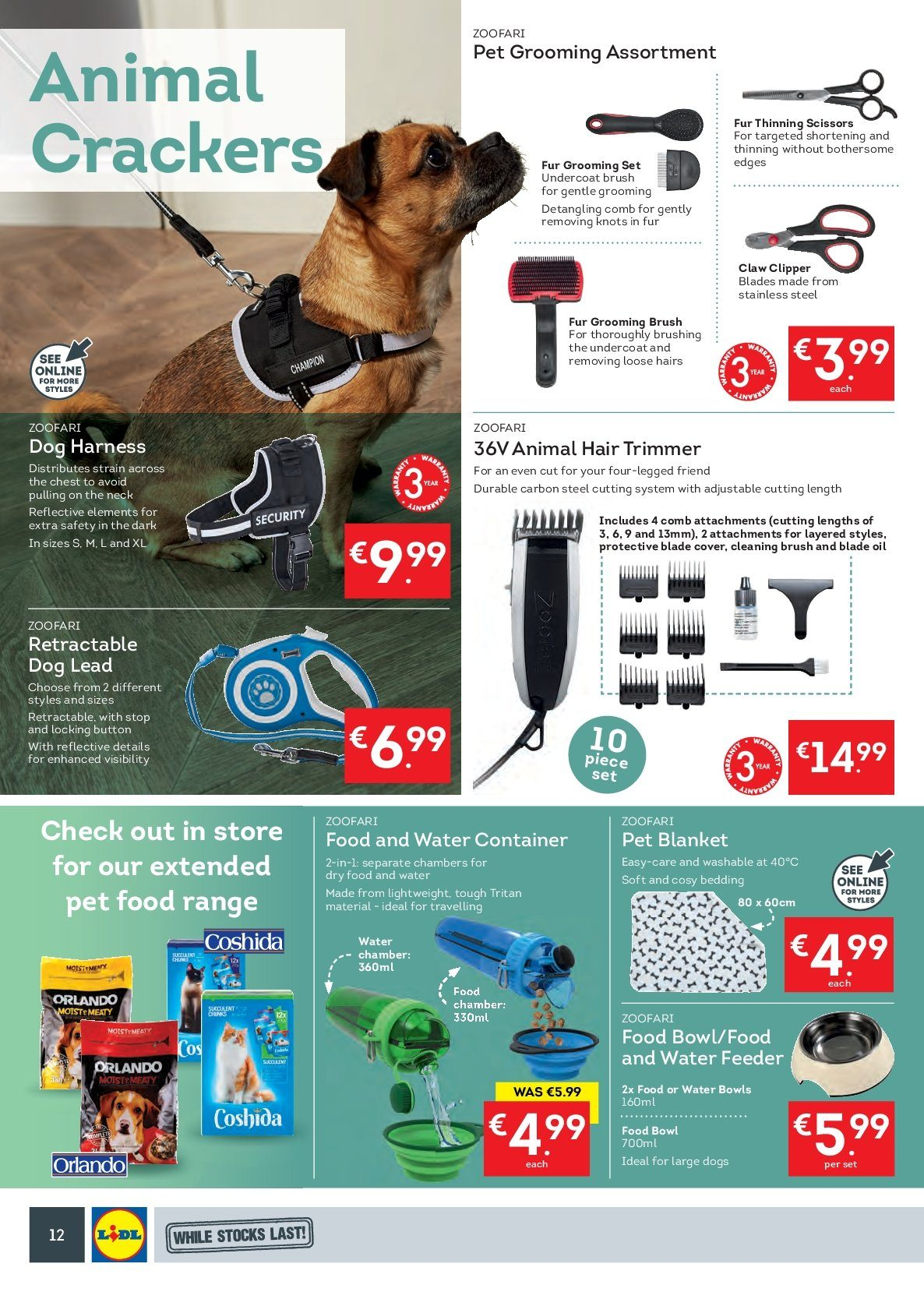 Lidl offer  - 24.9.2018 - 30.9.2018 - Sales products - crackers, shortening, oil, comb, grooming set, trimmer, brush, clipper, bowl, scissors, bedding collection, blanket, dog lead, dog harness. Page 16.