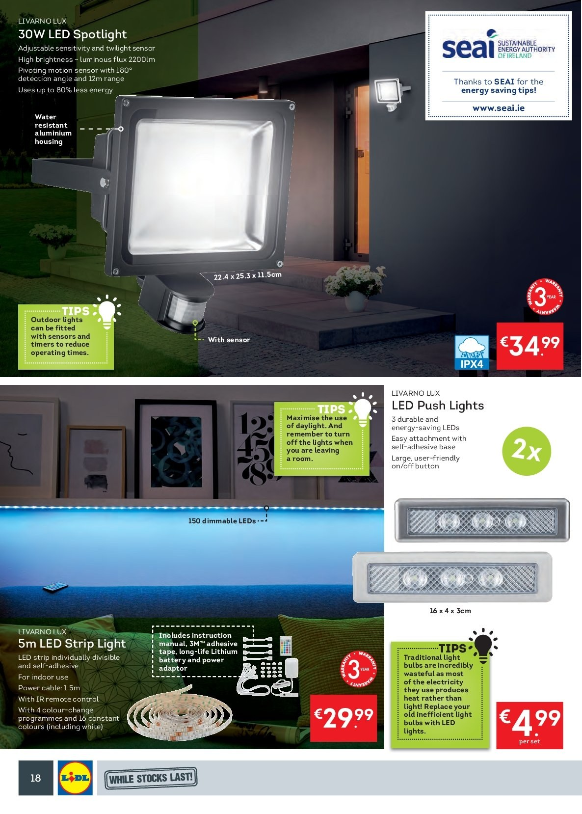 Lidl offer  - 24.9.2018 - 30.9.2018 - Sales products - Lux, battery, bulb, light bulb, spot light, motion sensor, LED strip. Page 22.