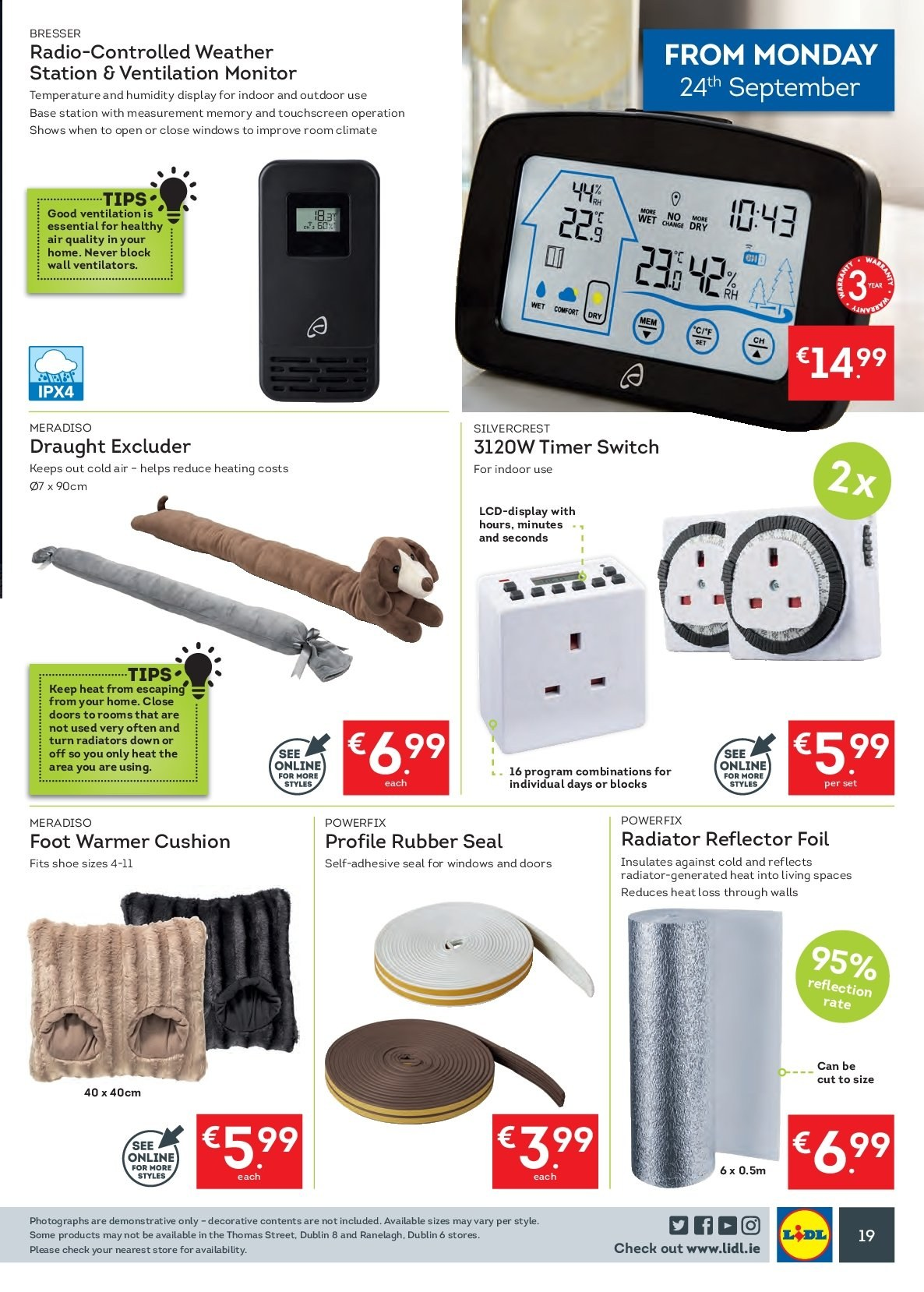 Lidl offer  - 24.9.2018 - 30.9.2018 - Sales products - SilverCrest, rubber, cushion, monitor, radio, switch, excluder. Page 23.