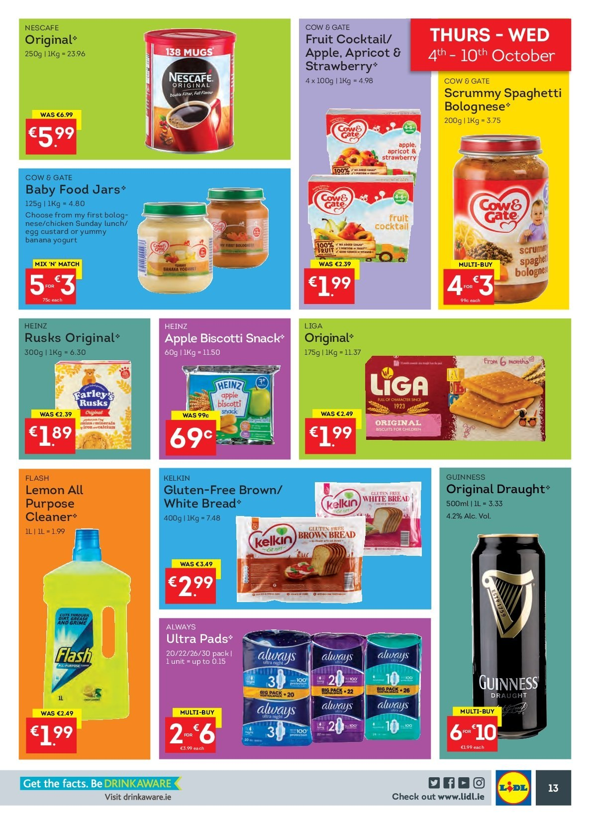 Lidl offer  - 1.10.2018 - 7.10.2018 - Sales products - bread, white bread, brown bread, rusks, custard, yoghurt, eggs, biscotti, biscuit, snack, Heinz, spaghetti, Nescafé, Guinness, chicken, cleaner, jar. Page 13.