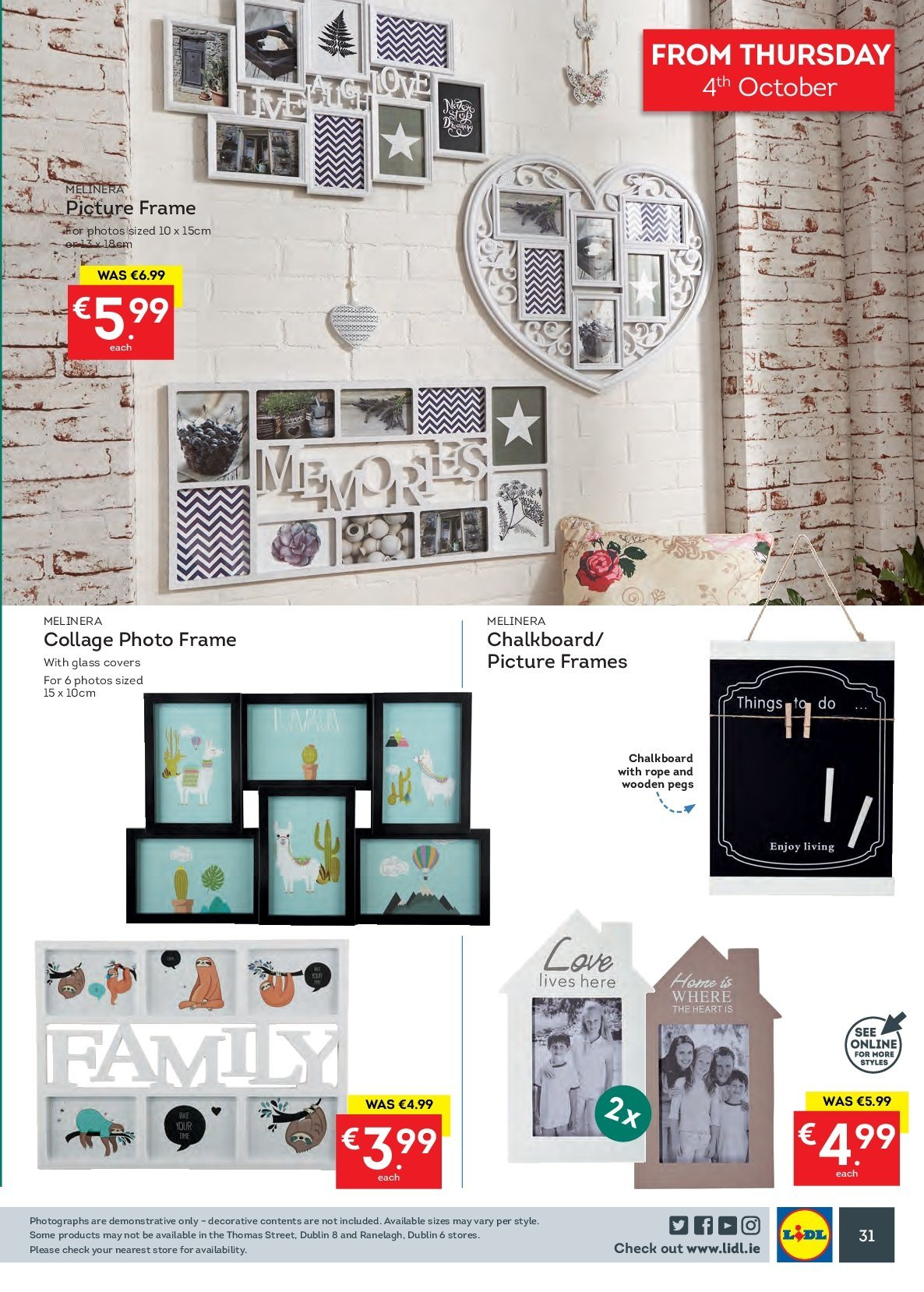 Lidl offer  - 1.10.2018 - 7.10.2018 - Sales products - chalkboard, picture frame. Page 31.
