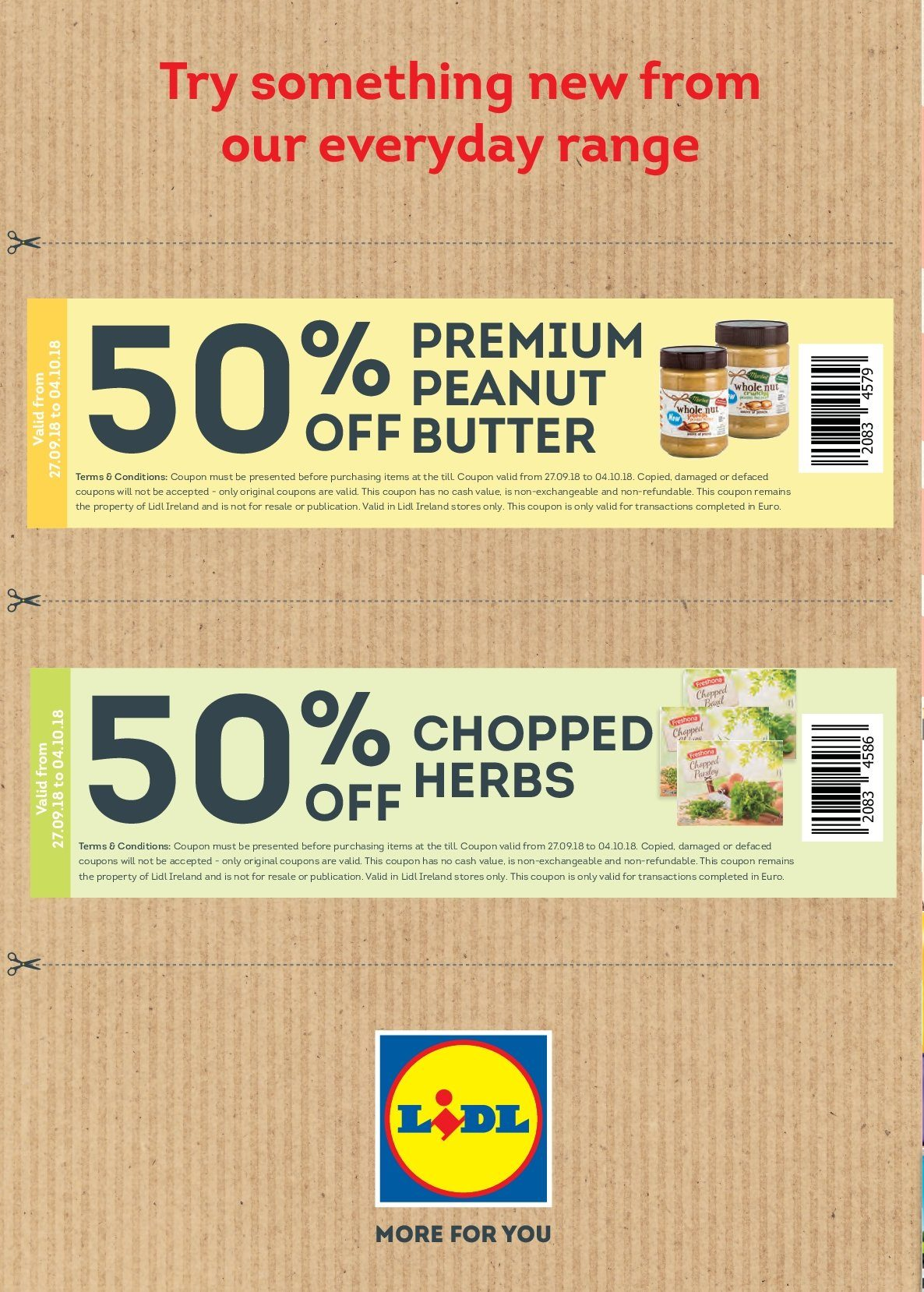 Lidl offer  - 1.10.2018 - 7.10.2018 - Sales products - butter, herbs, peanuts. Page 40.