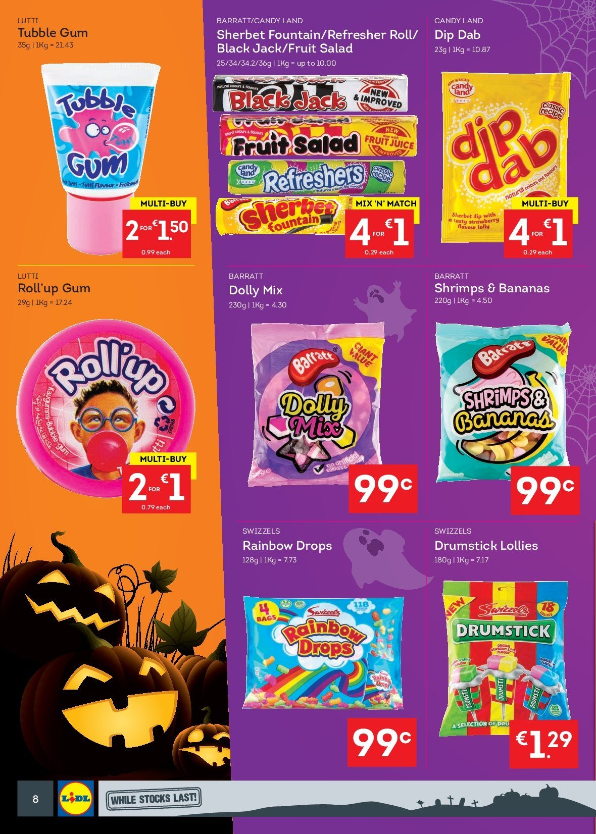 Lidl offer  - 15.10.2018 - 21.10.2018 - Sales products - salad, bananas, shrimps, dip, sherbet, candy, lollipop, Swizzels, fruit salad, juice, fruit juice, refresher, bag. Page 8.