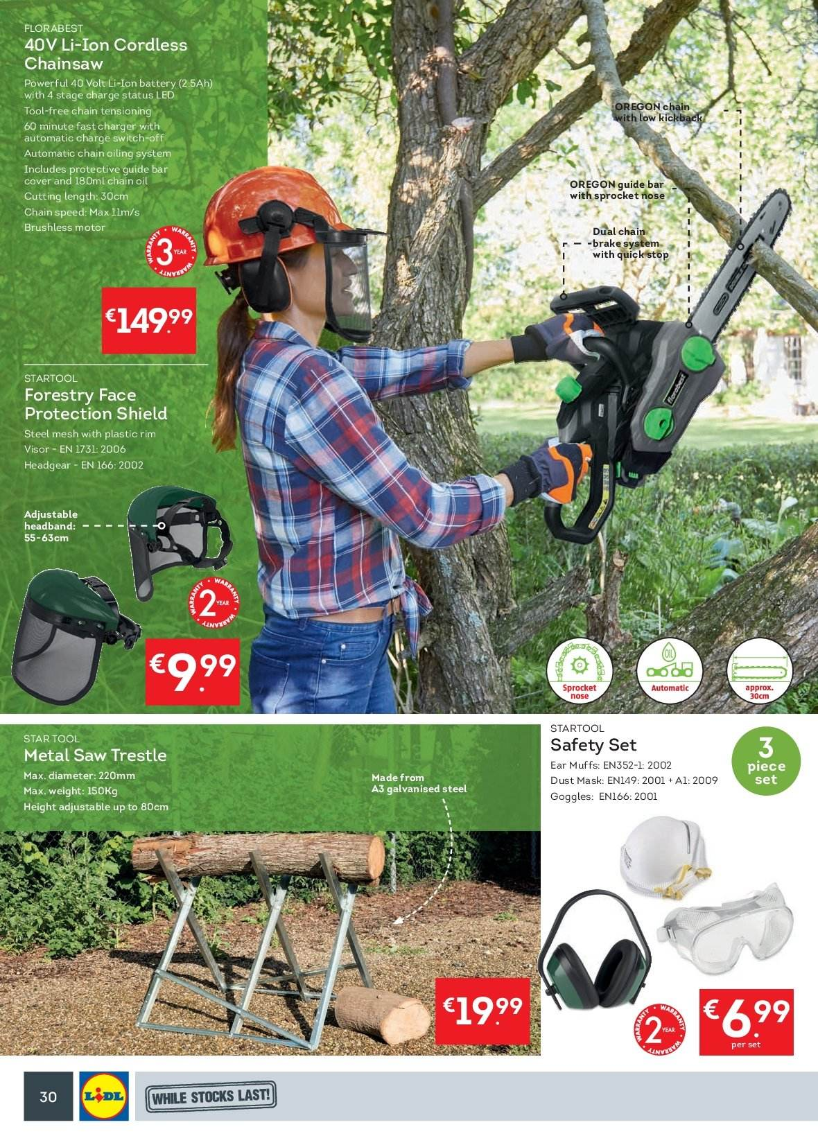 Lidl offer  - 15.10.2018 - 21.10.2018 - Sales products - Headgear, switch, chain saw, saw. Page 30.