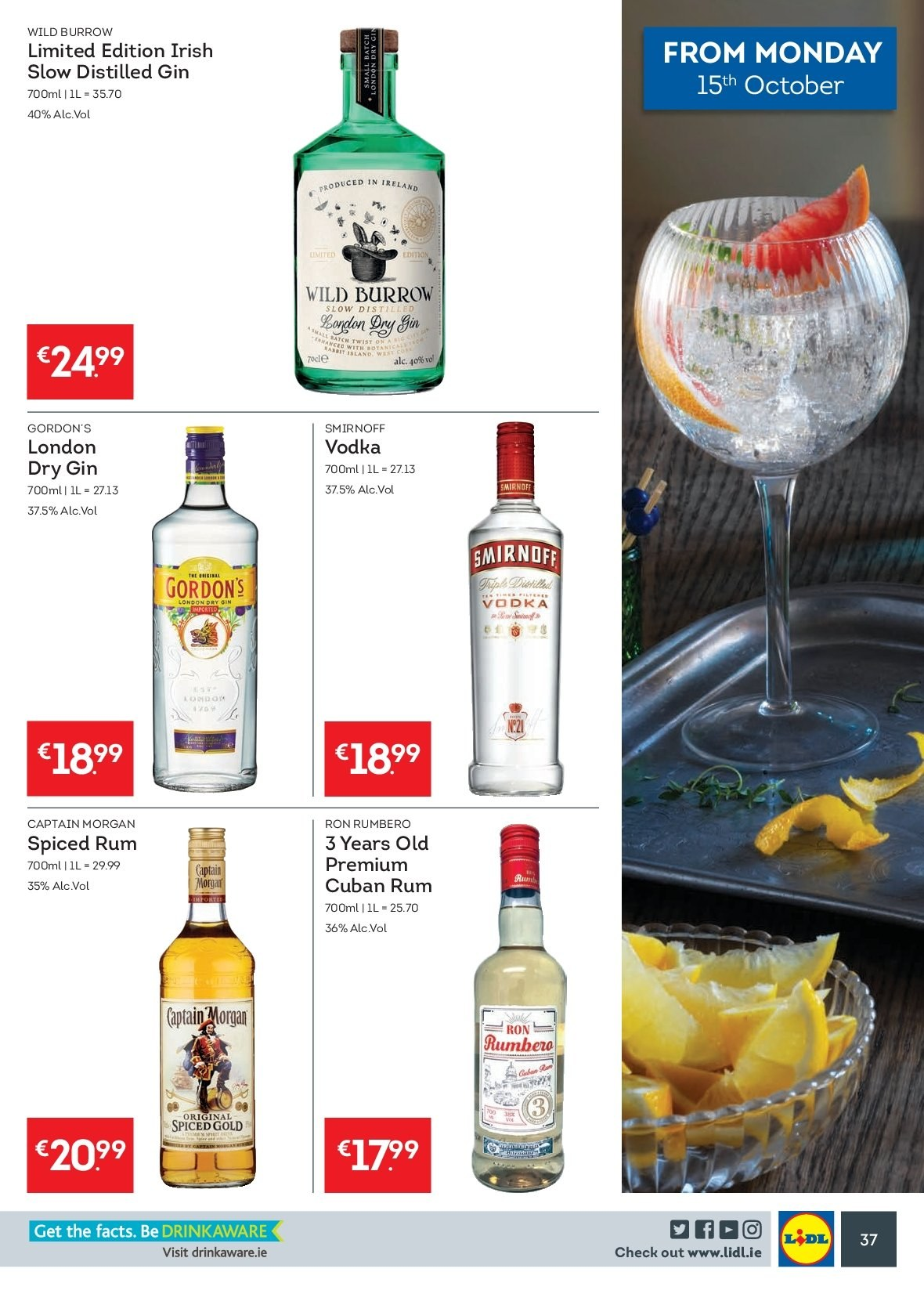 Lidl offer  - 15.10.2018 - 21.10.2018 - Sales products - Captain Morgan, gin, rum, Smirnoff, spiced rum, vodka, Gordon's, ron. Page 37.