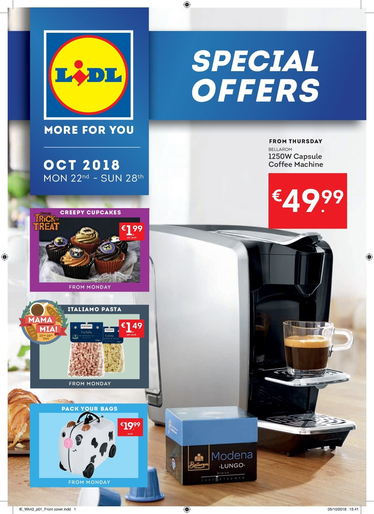 Lidl offer  - 22.10.2018 - 28.10.2018 - Sales products - cupcake, pasta, bag. Page 1.