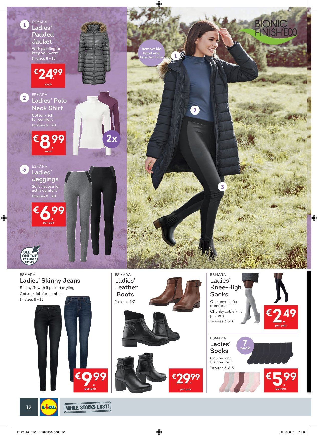 Lidl offer  - 22.10.2018 - 28.10.2018 - Sales products - boots, jeans, Esmara, Comfort, shirt, socks, jeggings. Page 12.