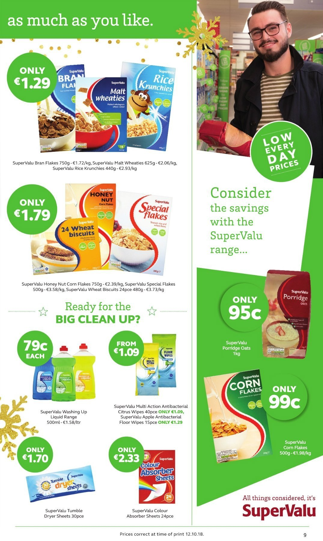 SuperValu offer  - 8.11.2018 - 21.11.2018 - Sales products - biscuit, oats, malt, cereals, corn flakes, porridge, bran flakes, rice, wipes, dryer sheets, dishwashing liquid, tumble dryer. Page 9.