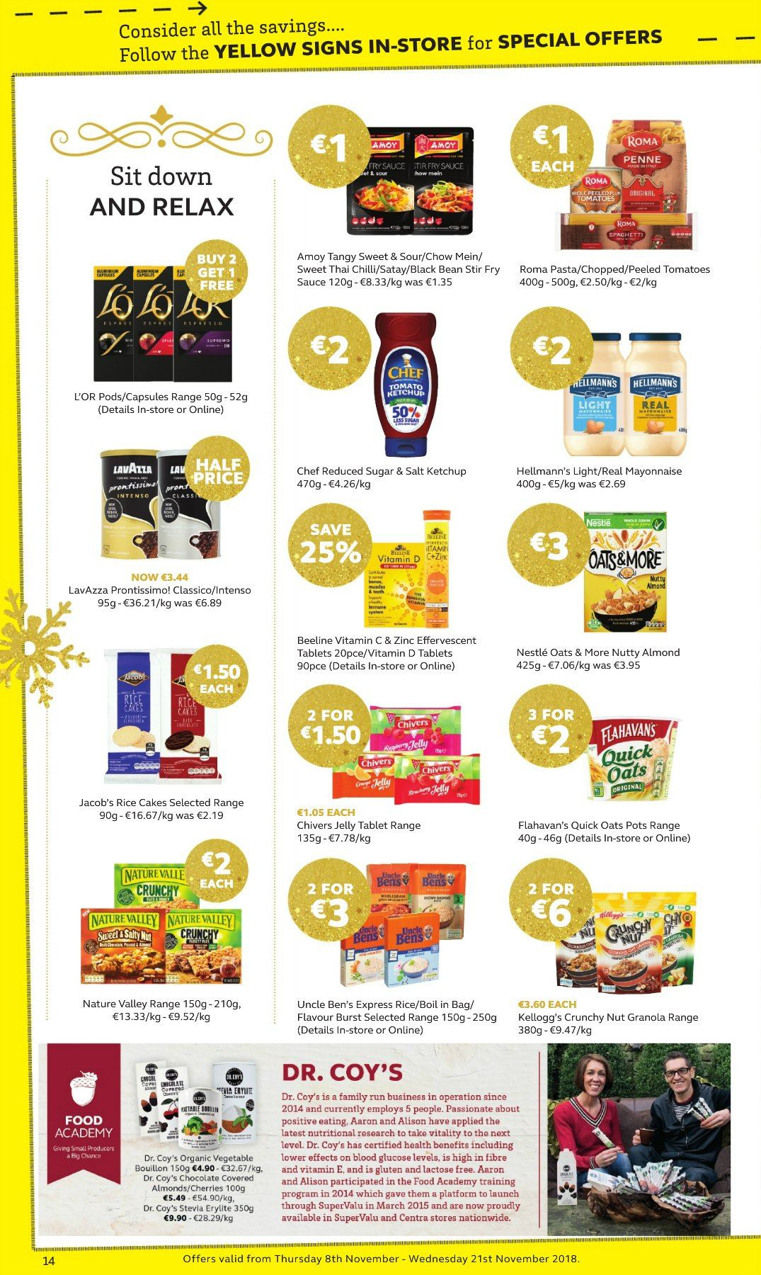 SuperValu offer  - 8.11.2018 - 21.11.2018 - Sales products - cake, beans, tomatoes, cherries, sauce, jelly, mayonnaise, Hellmann's, Nestlé, Kellogg's, bouillon, oats, stevia, Uncle Ben's, granola, Quick Oats, Nature Valley, rice, pasta, penne, almonds, L'Or, Intenso, Lavazza, vitamin c, zinc. Page 14.